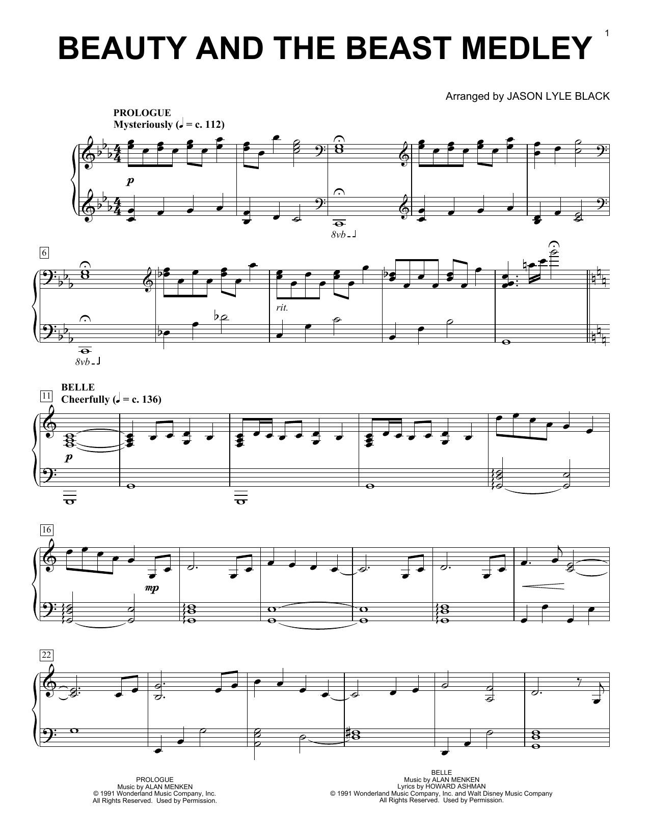 Beauty And The Beast Medley (Piano Solo)