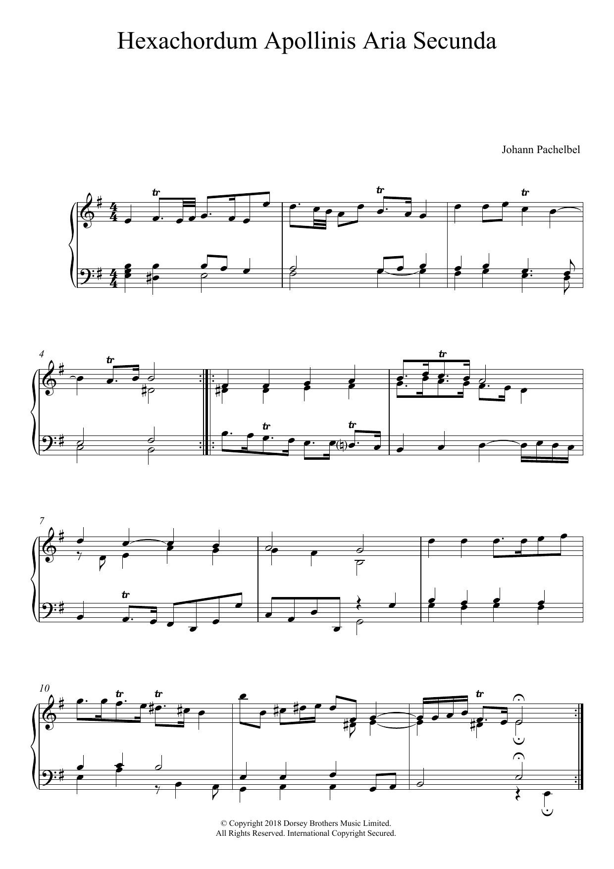 Hexachordum Apollinis: Aria Secunda Sheet Music