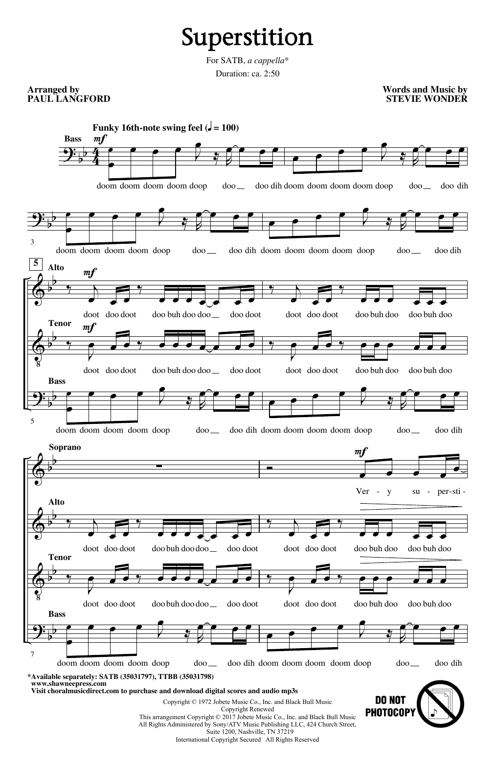 Superstition (arr. Paul Langford) Sheet Music