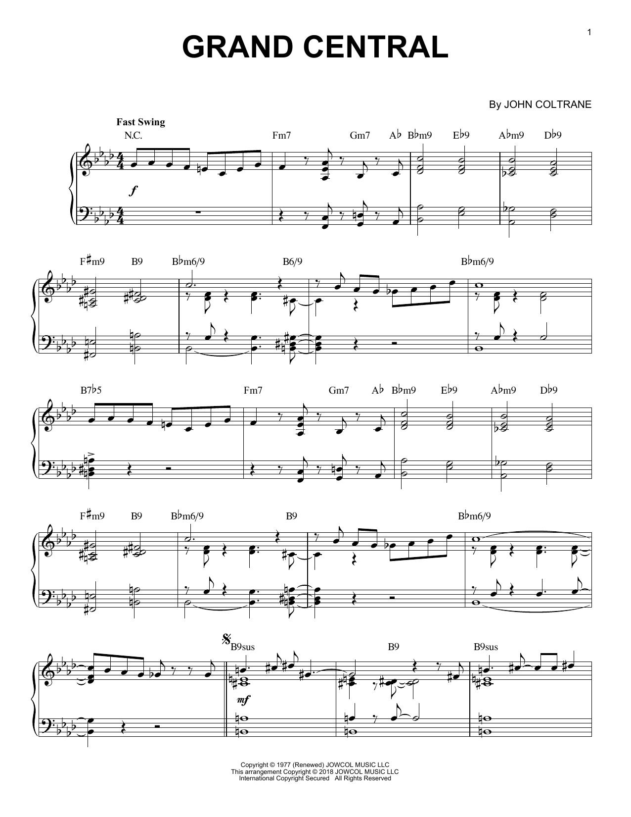 Grand Central [Jazz version] (Piano Solo)
