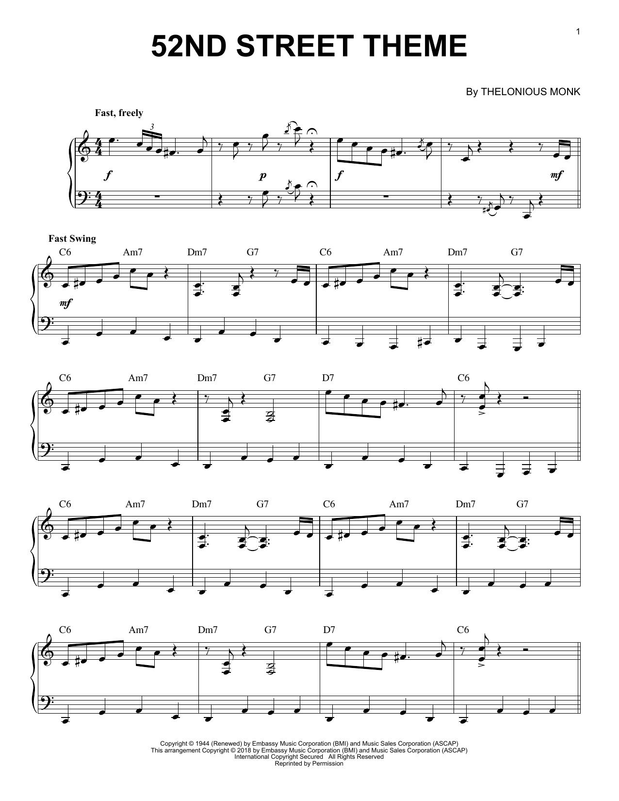 52nd Street Theme (Piano Solo)