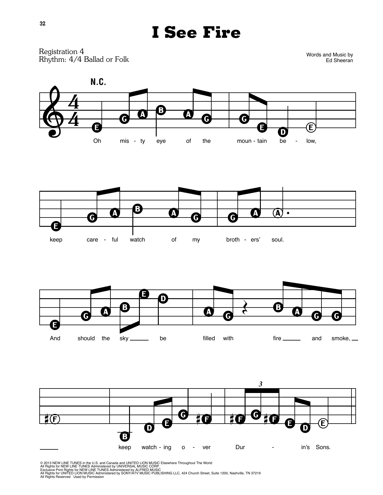 I See Fire (from The Hobbit) Sheet Music