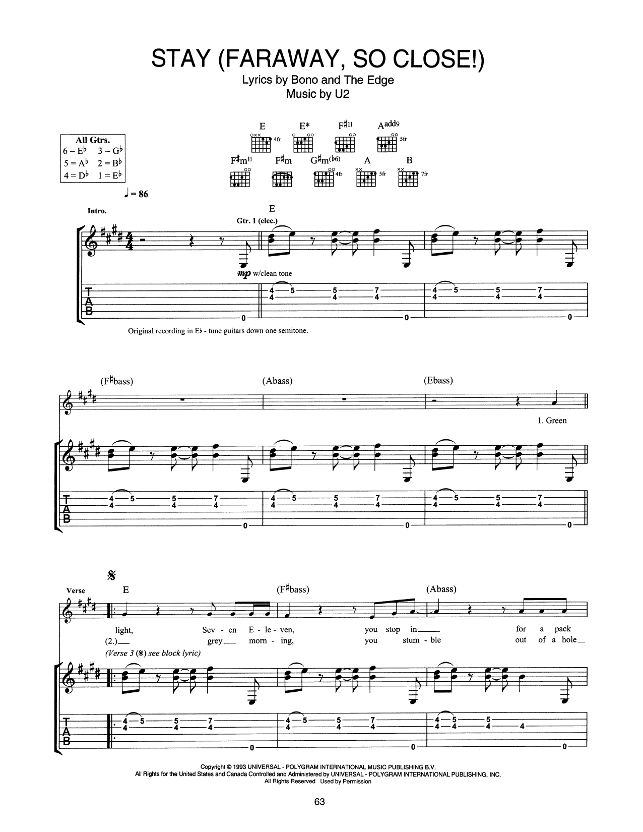 Stay Faraway So Close Guitar Tab By U2 Guitar Tab 250627