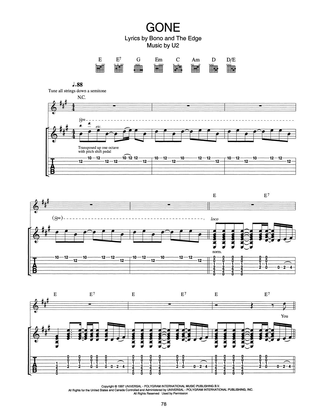 Gone (Guitar Tab)