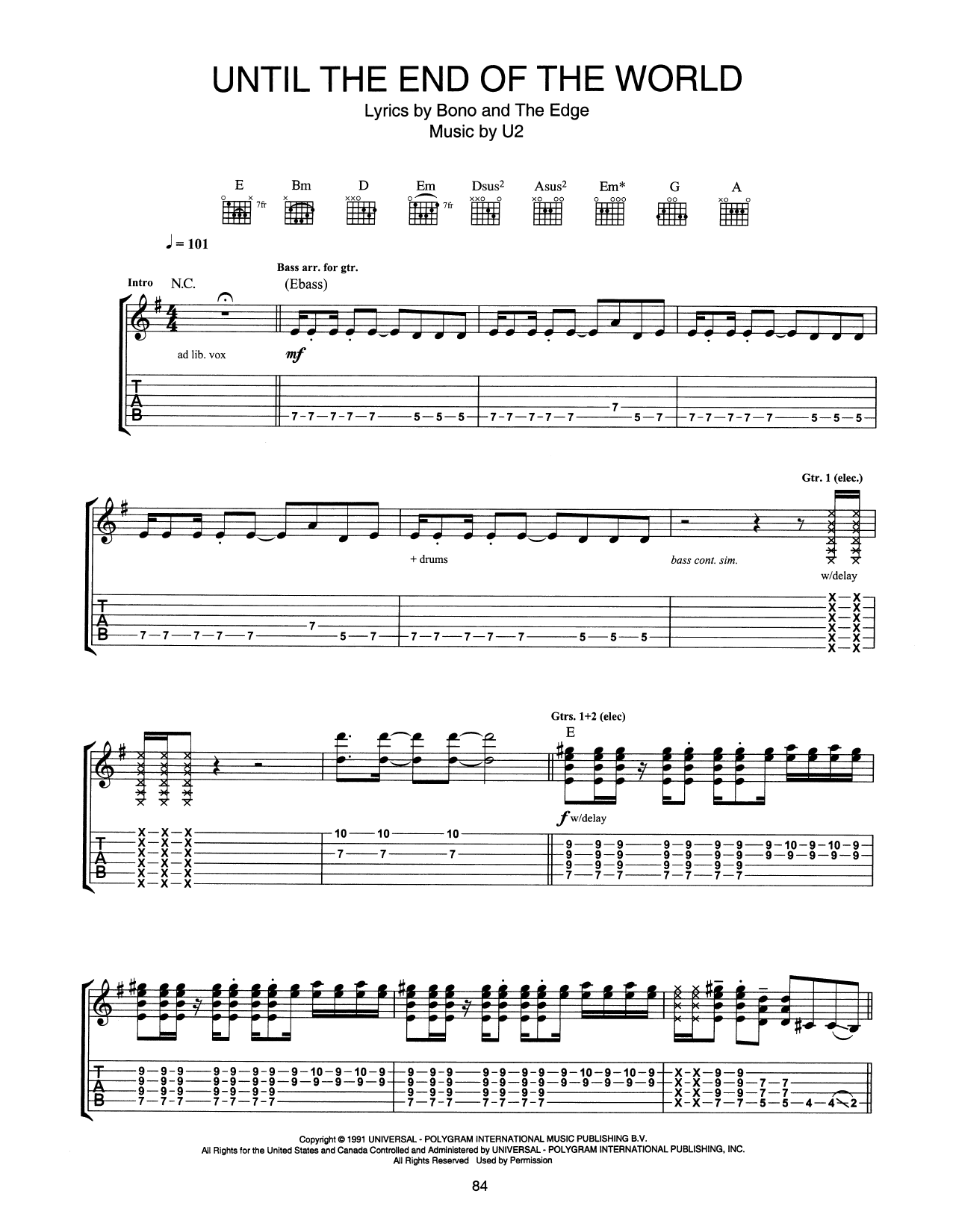 Until The End Of The World (Guitar Tab)