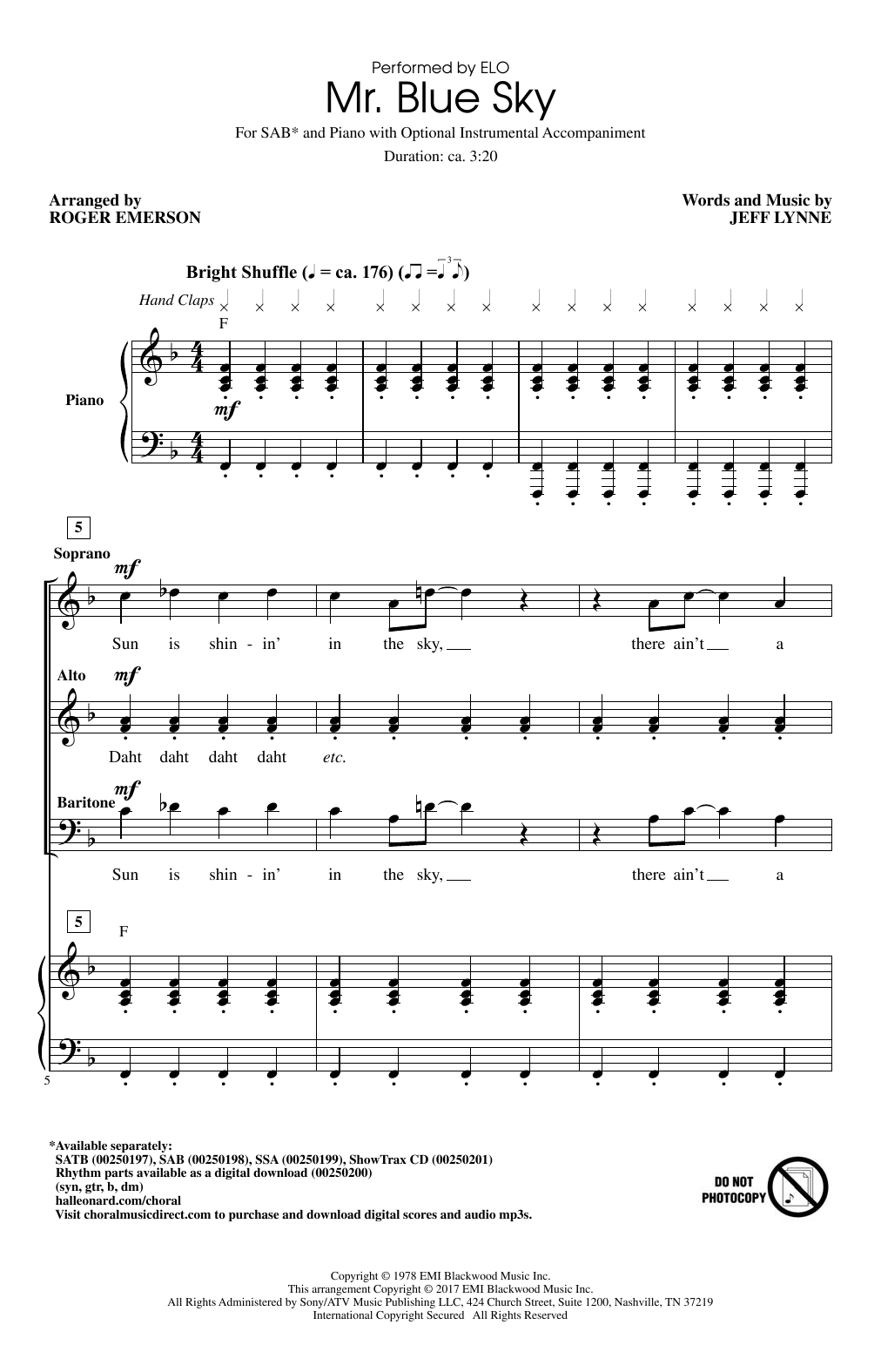Mr. Blue Sky (arr. Roger Emerson) Sheet Music