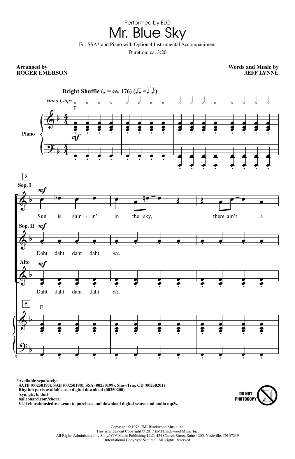 Mr. Blue Sky (arr. Roger Emerson) Sheet Music