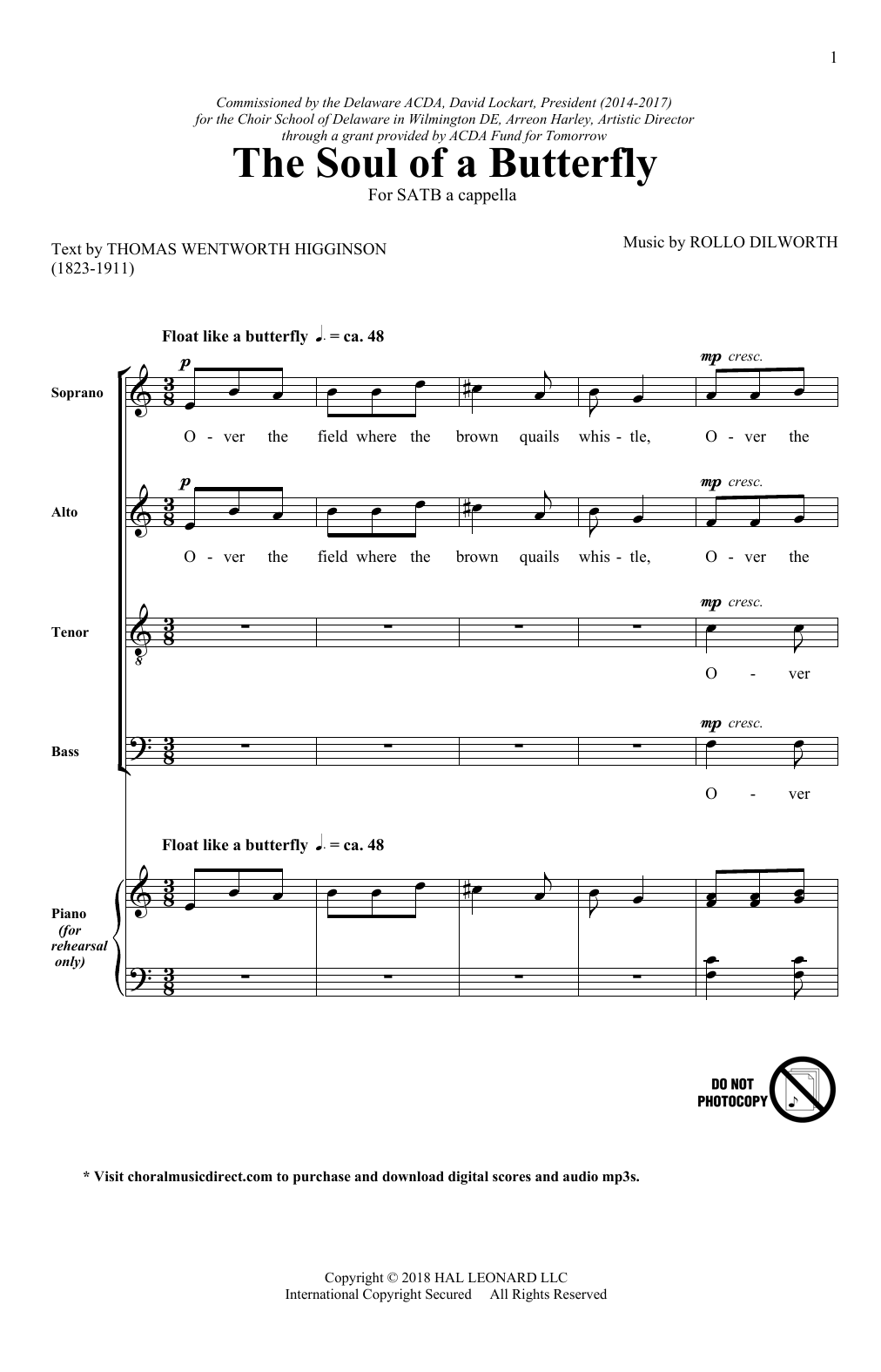 The Soul Of A Butterfly Sheet Music