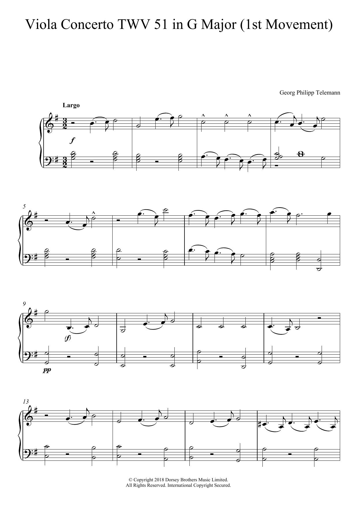 Viola Concerto TWV 51 In G Major Sheet Music