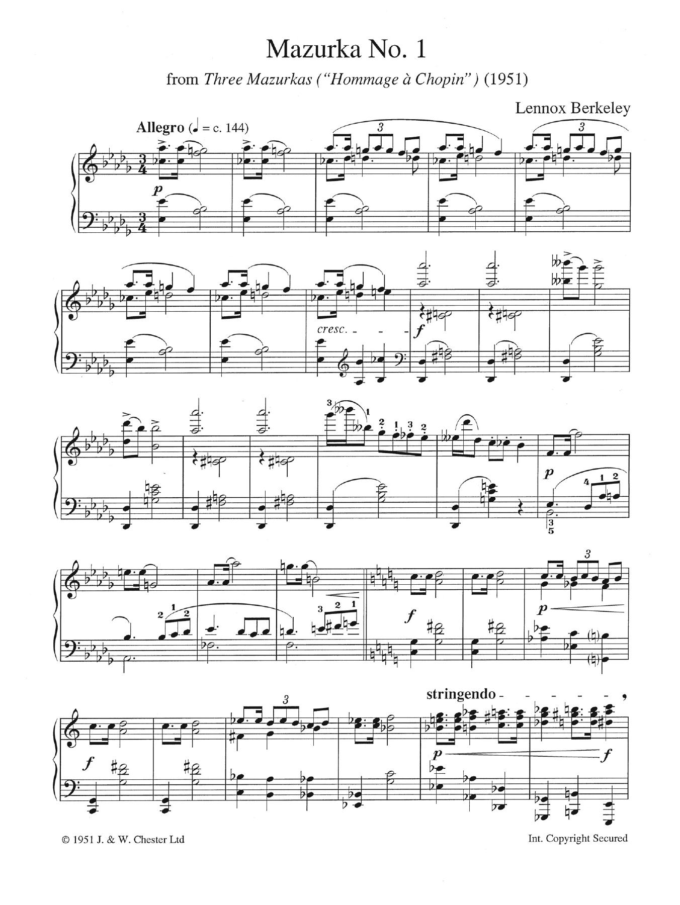 """Mazurka  No. 1 (from """"Three Mazurkas"""") Sheet Music"""
