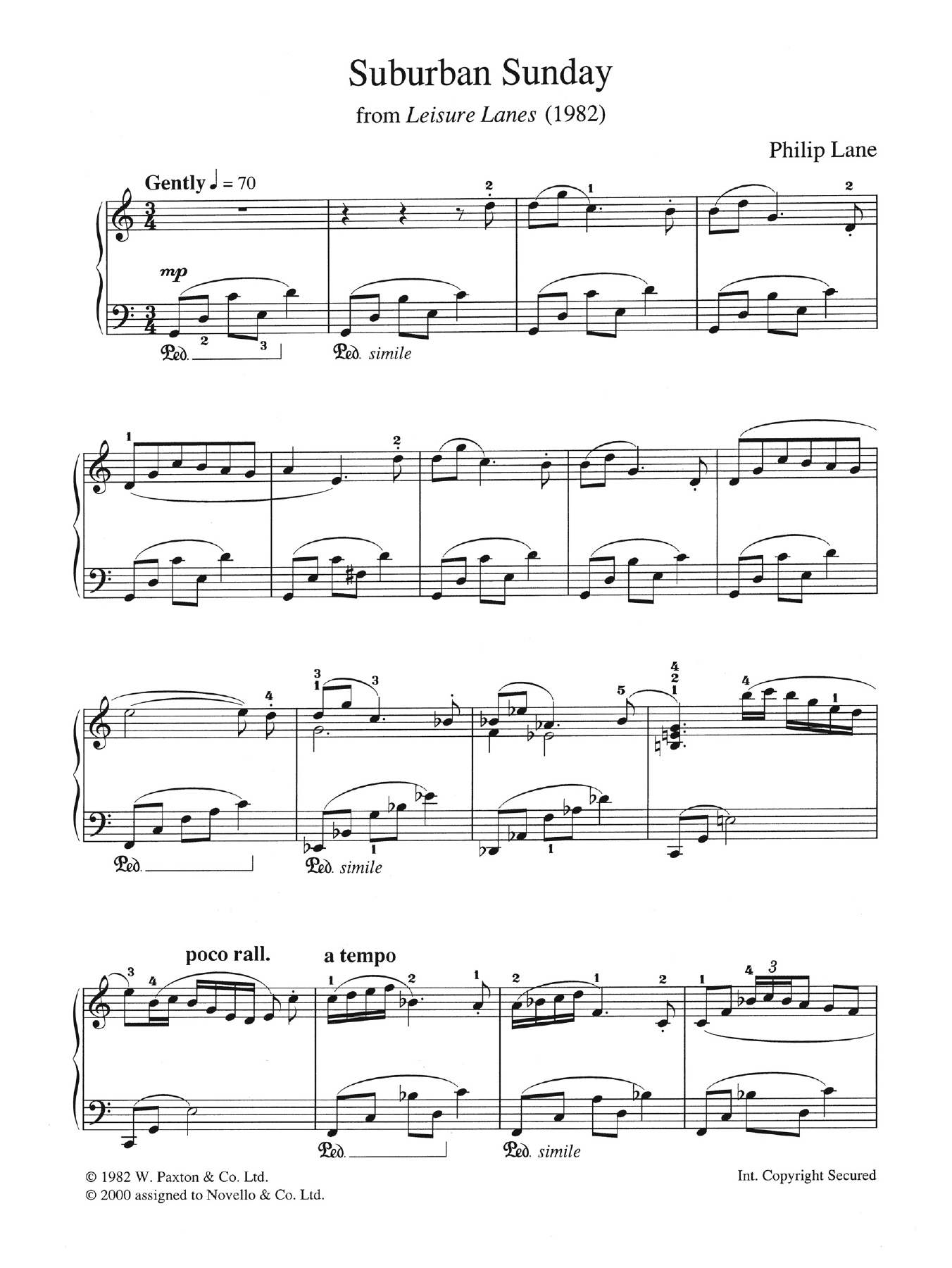 "Suburban Sunday (from ""Leisure Lanes"") Sheet Music"