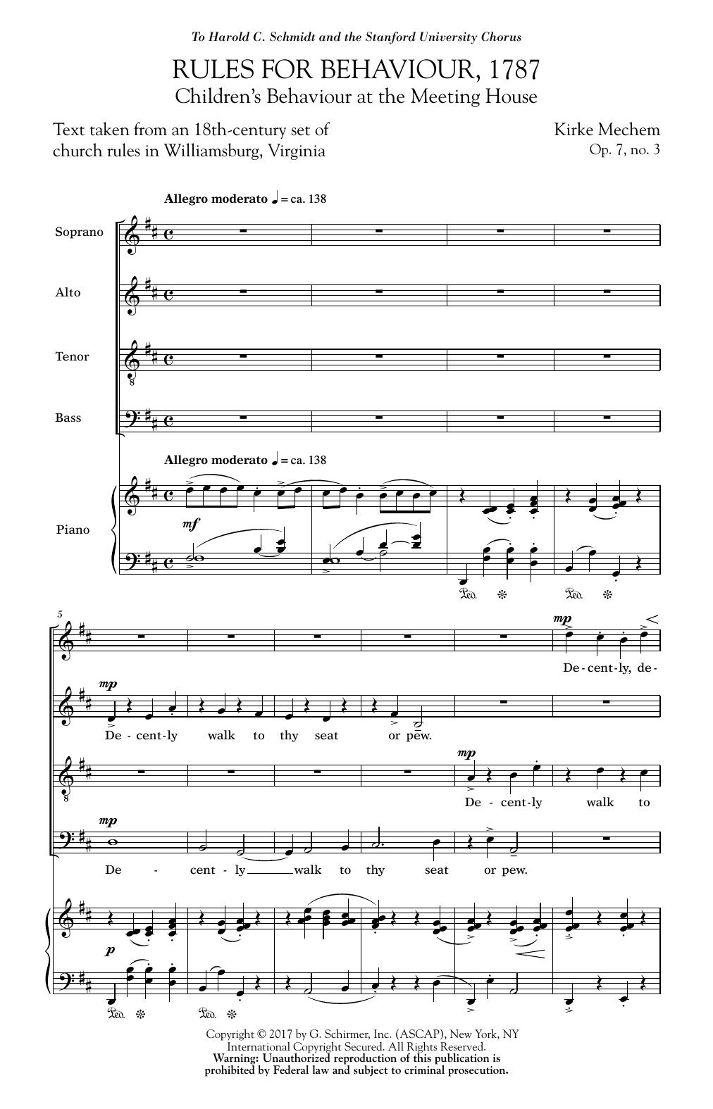 Rules For Behaviour, 1787 Sheet Music