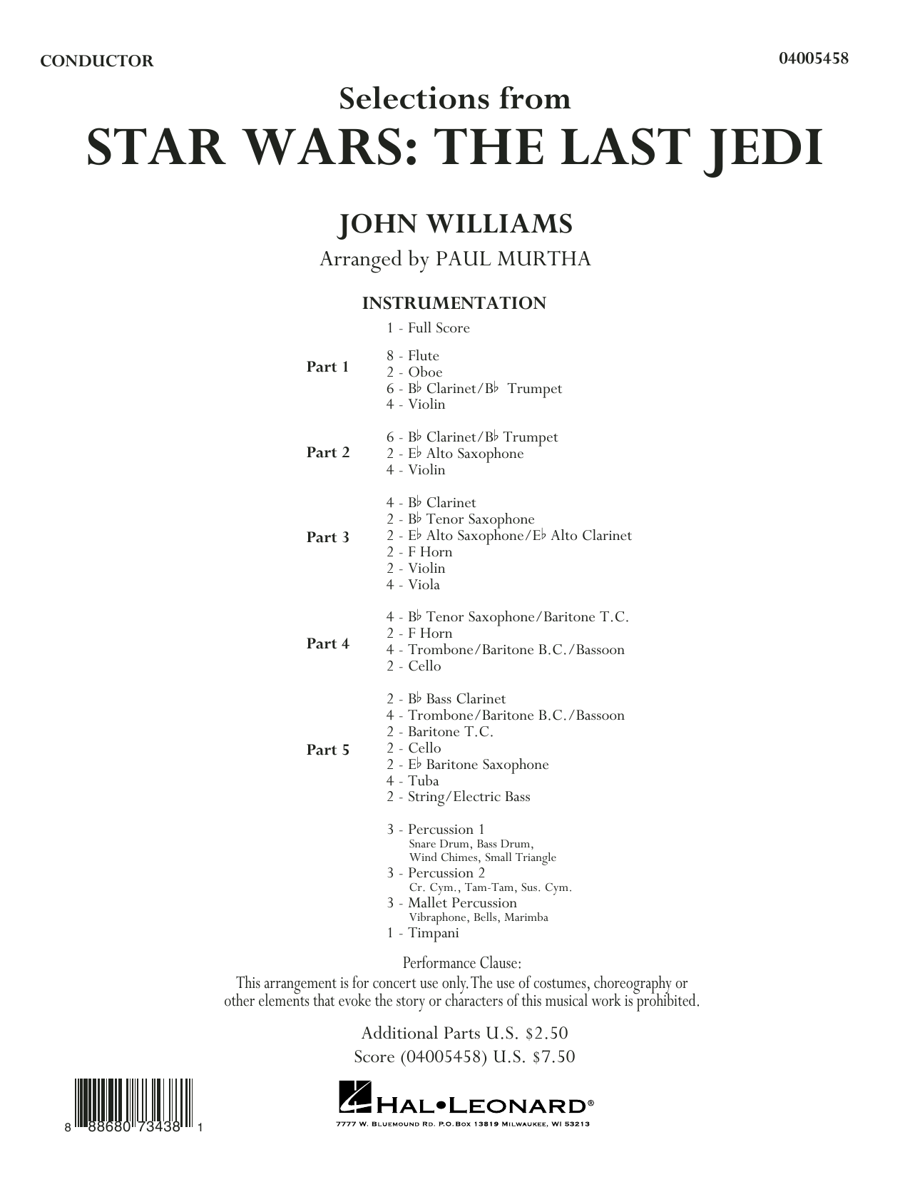 Partition autre The Last Jedi - Conductor Score (Full Score) de Selections from Star Wars - Autre