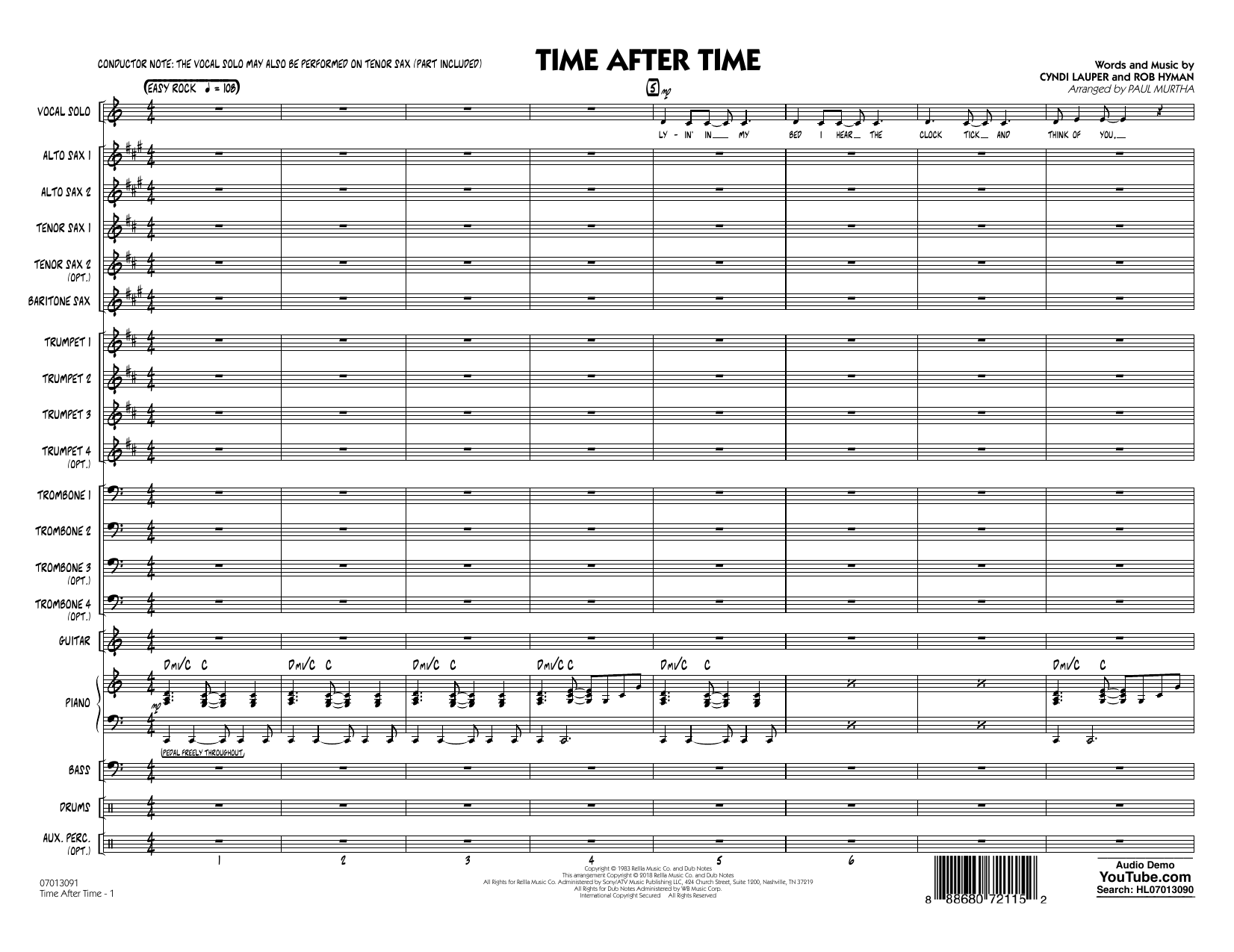 Time After Time - Conductor Score (Full Score) (Jazz Ensemble)