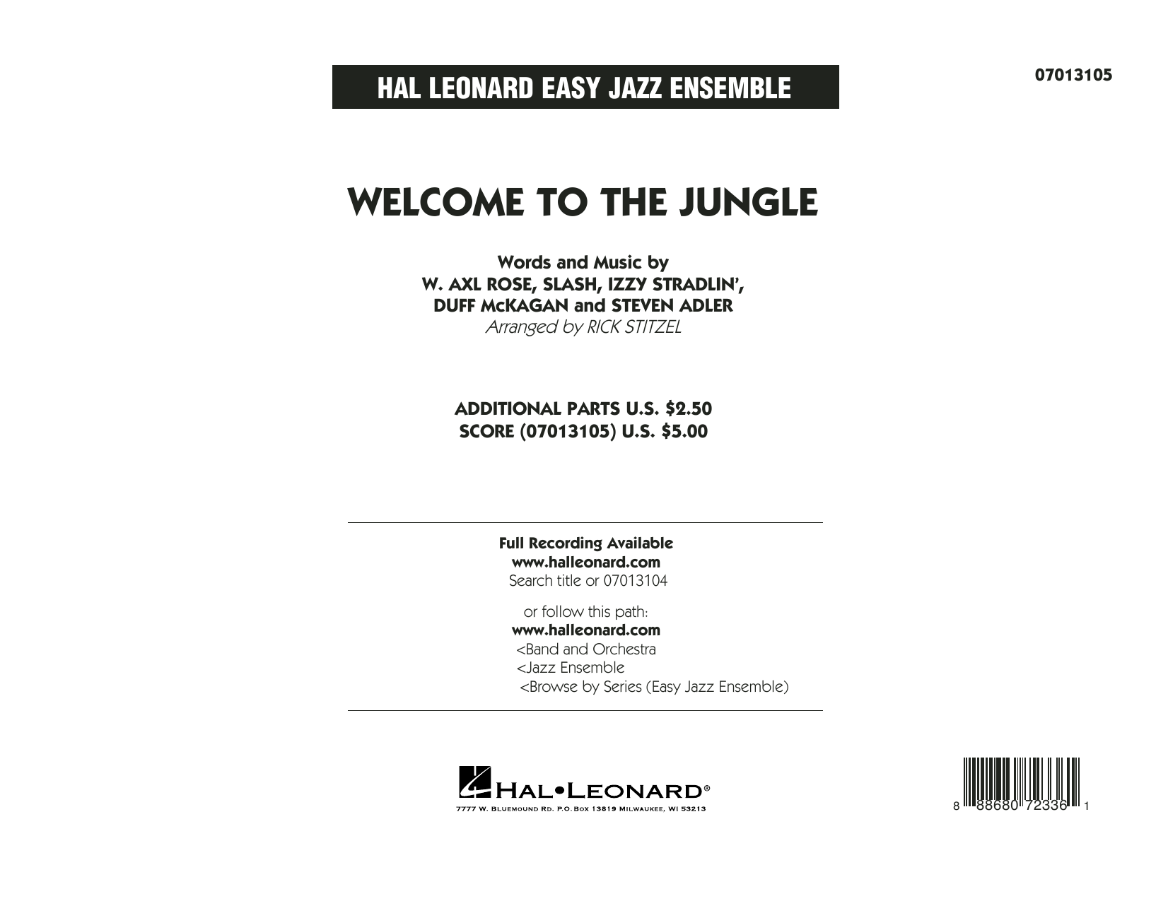 Welcome to the Jungle - Conductor Score (Full Score) (Jazz Ensemble)