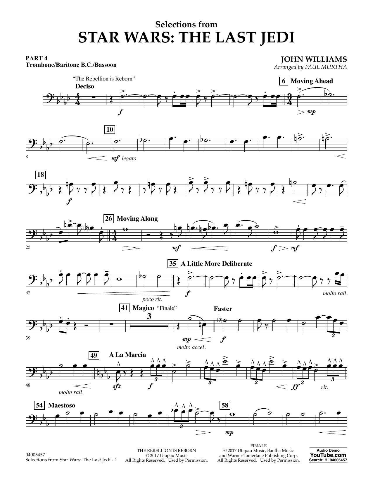 Selections from Star Wars: The Last Jedi - Pt.4 - Trombone/Bar. B.C./Bsn. (Flex-Band)