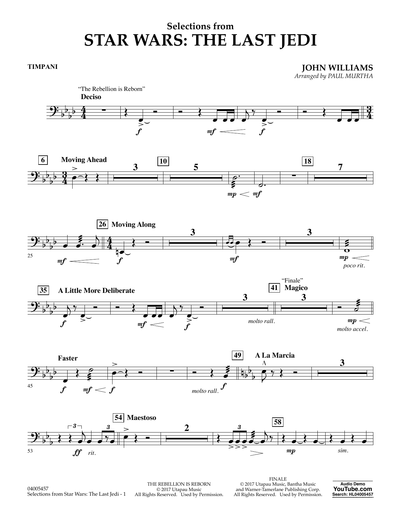 Selections from Star Wars: The Last Jedi - Timpani (Flex-Band)