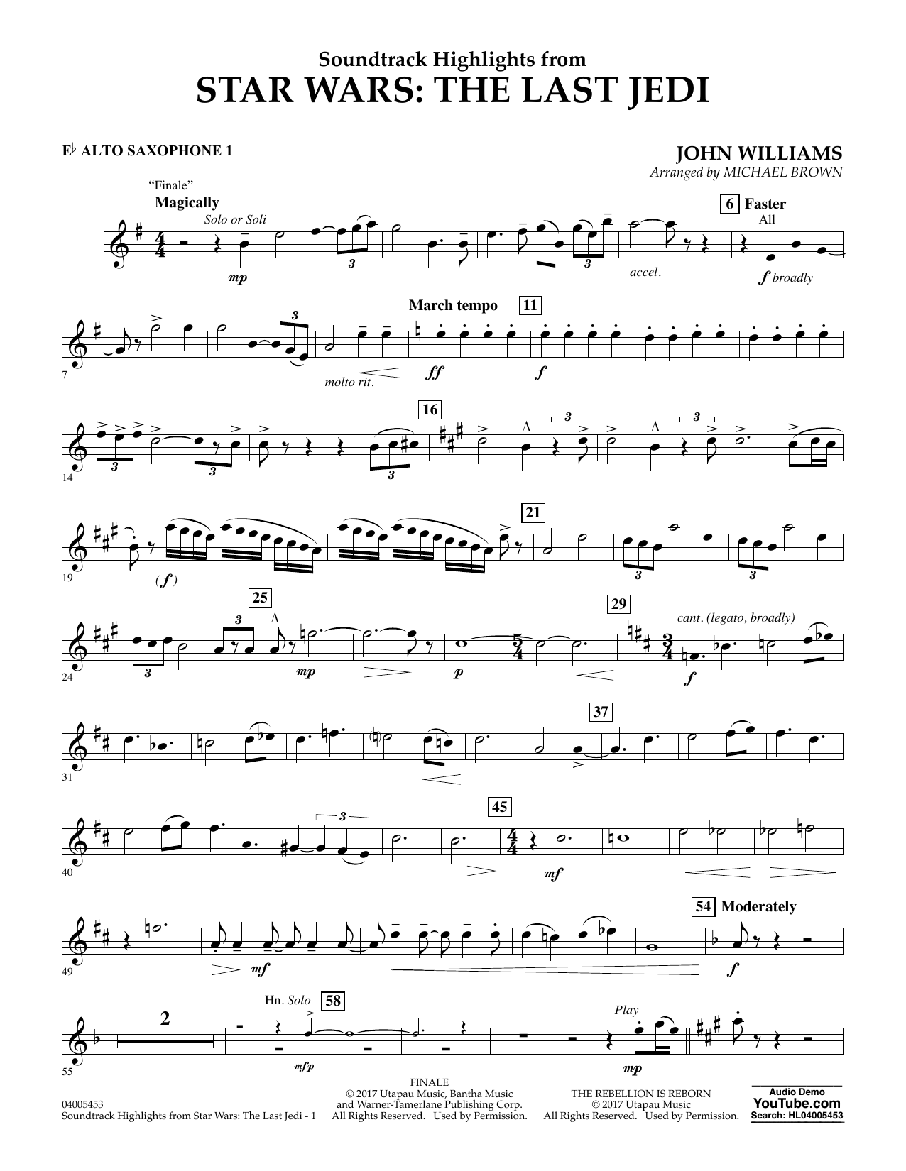 Soundtrack Highlights from Star Wars: The Last Jedi - Eb Alto Saxophone 1 (Concert Band)