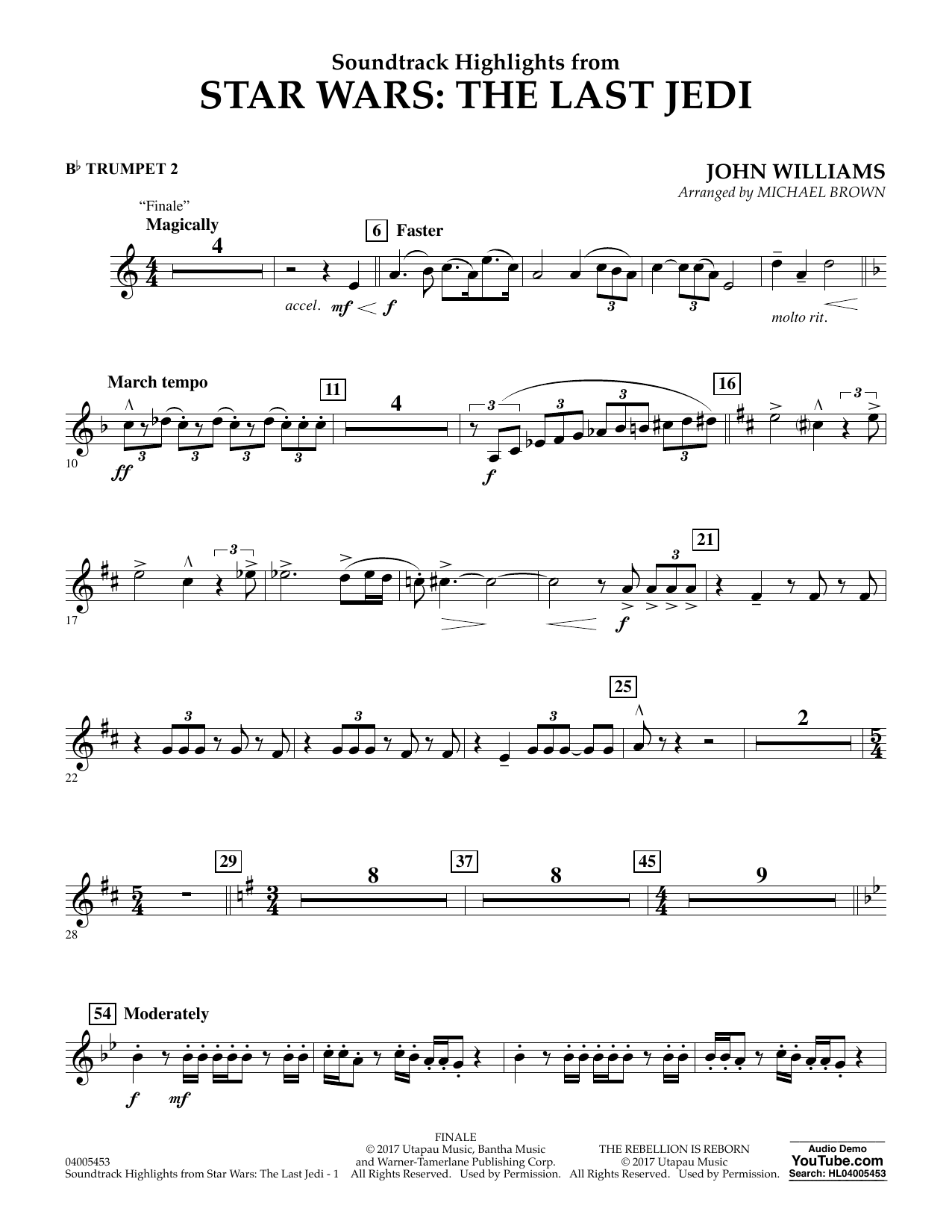 Soundtrack Highlights from Star Wars: The Last Jedi - Bb Trumpet 2 (Concert Band)