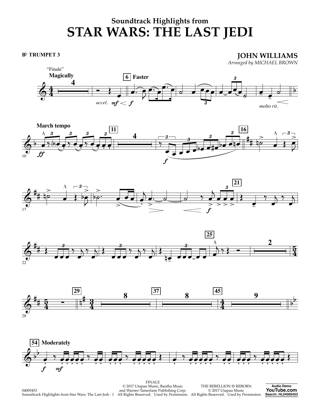Soundtrack Highlights from Star Wars: The Last Jedi - Bb Trumpet 3 (Concert Band)