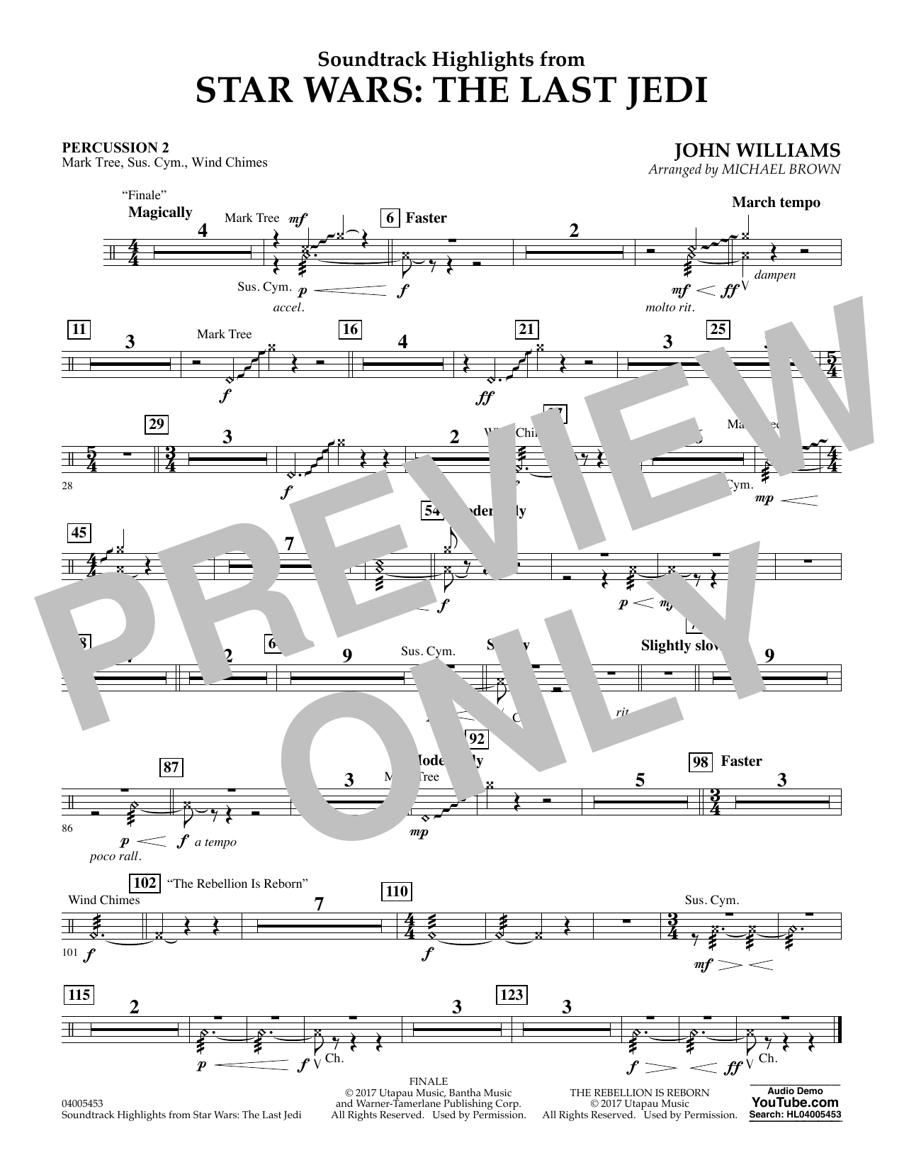 Soundtrack Highlights from Star Wars: The Last Jedi - Percussion 2 (Concert Band)
