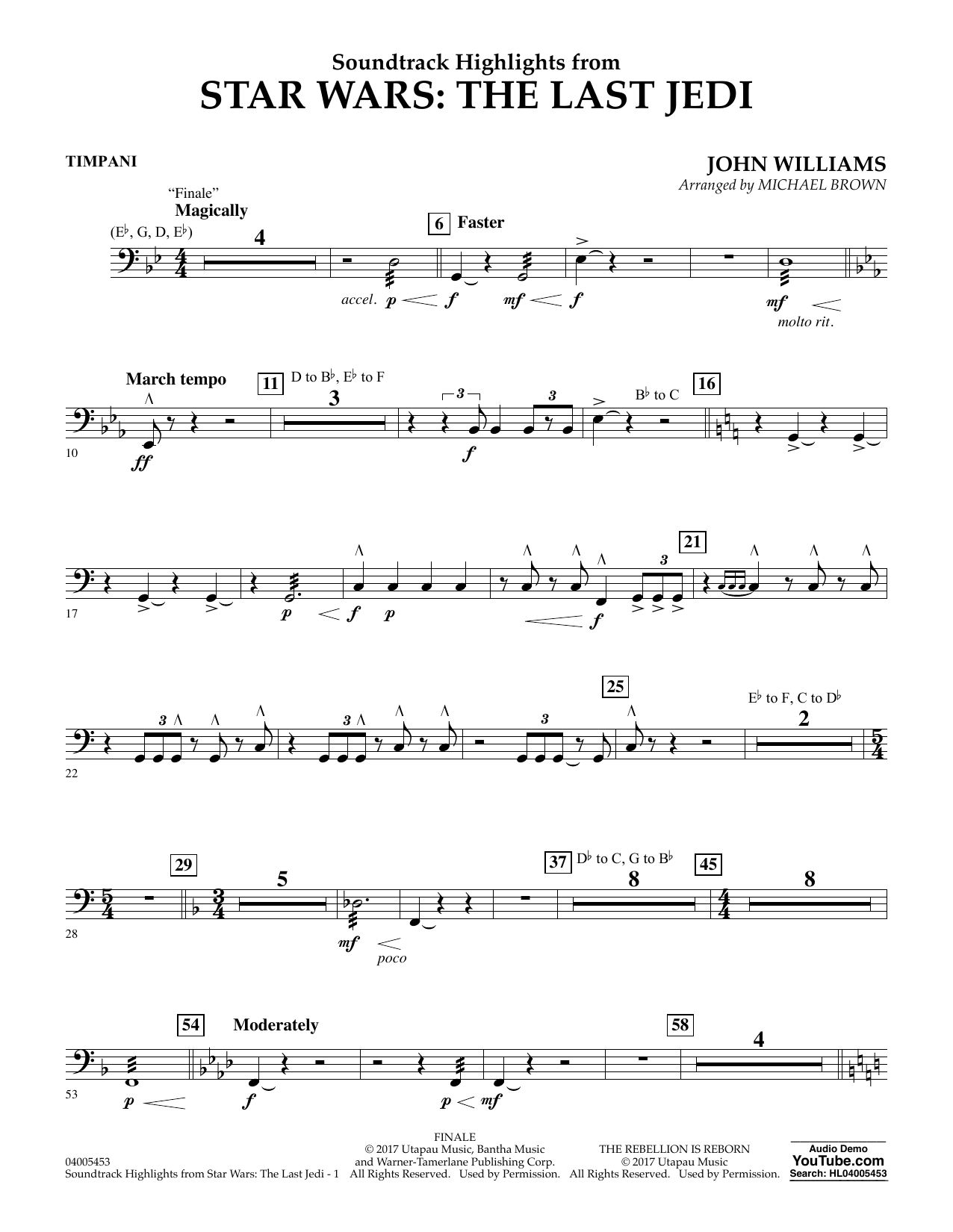 Soundtrack Highlights from Star Wars: The Last Jedi - Timpani (Concert Band)