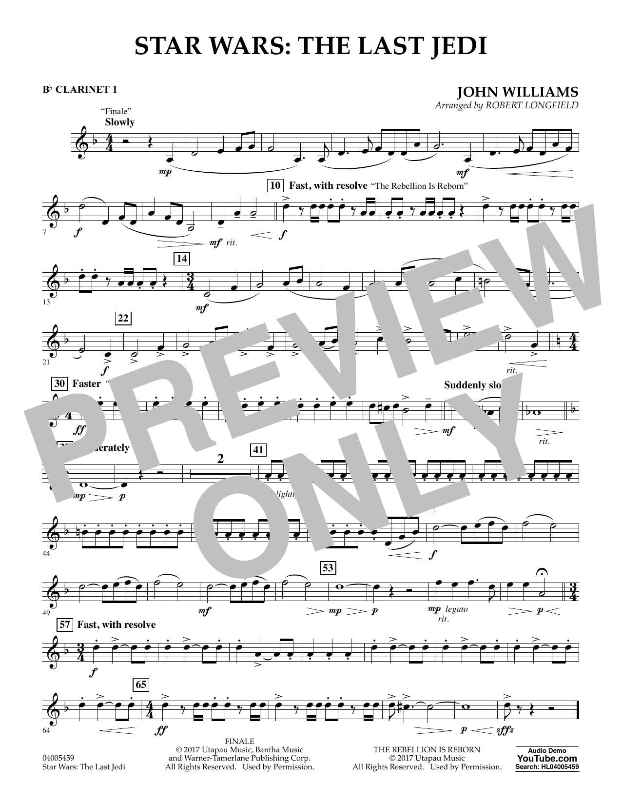 Star Wars: The Last Jedi - Bb Clarinet 1 (Concert Band)