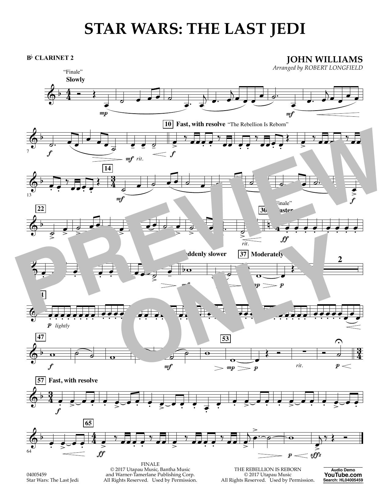 Star Wars: The Last Jedi - Bb Clarinet 2 (Concert Band)