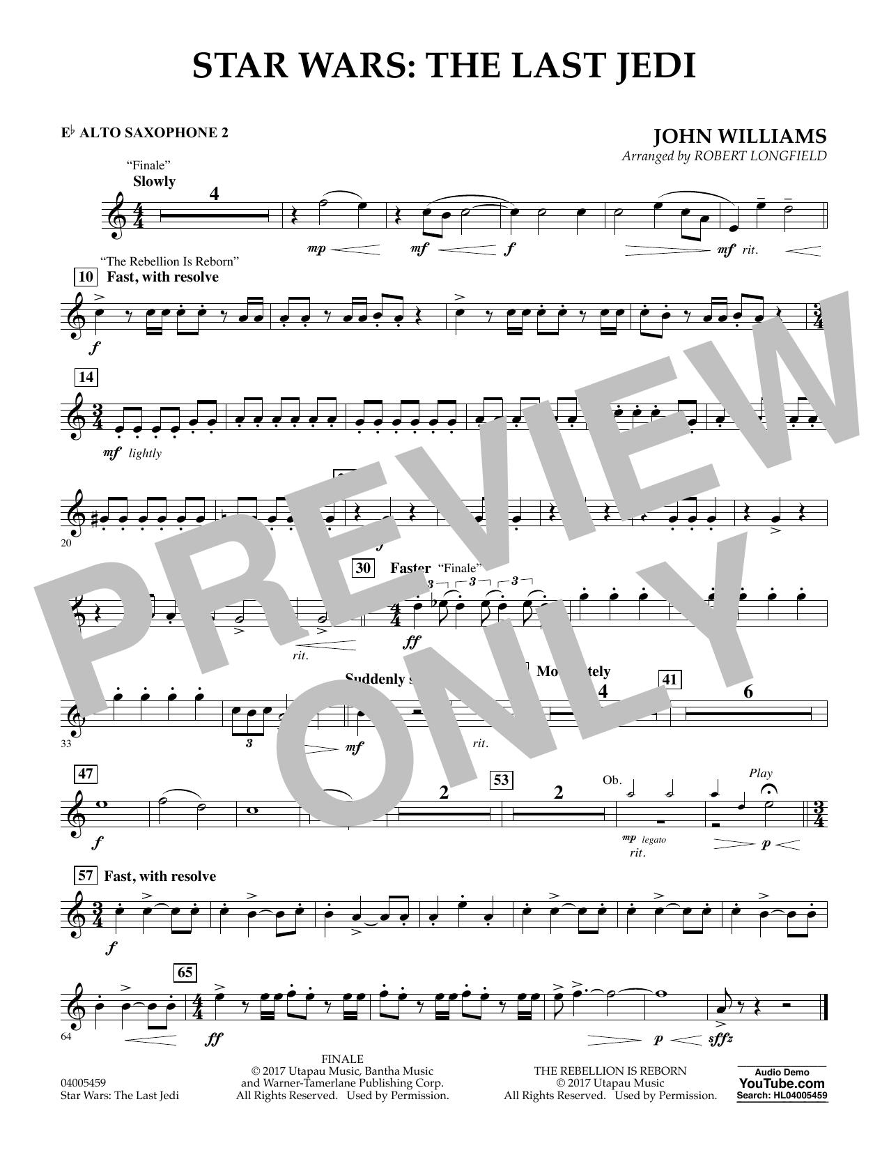 Star Wars: The Last Jedi - Eb Alto Saxophone 2 (Concert Band)