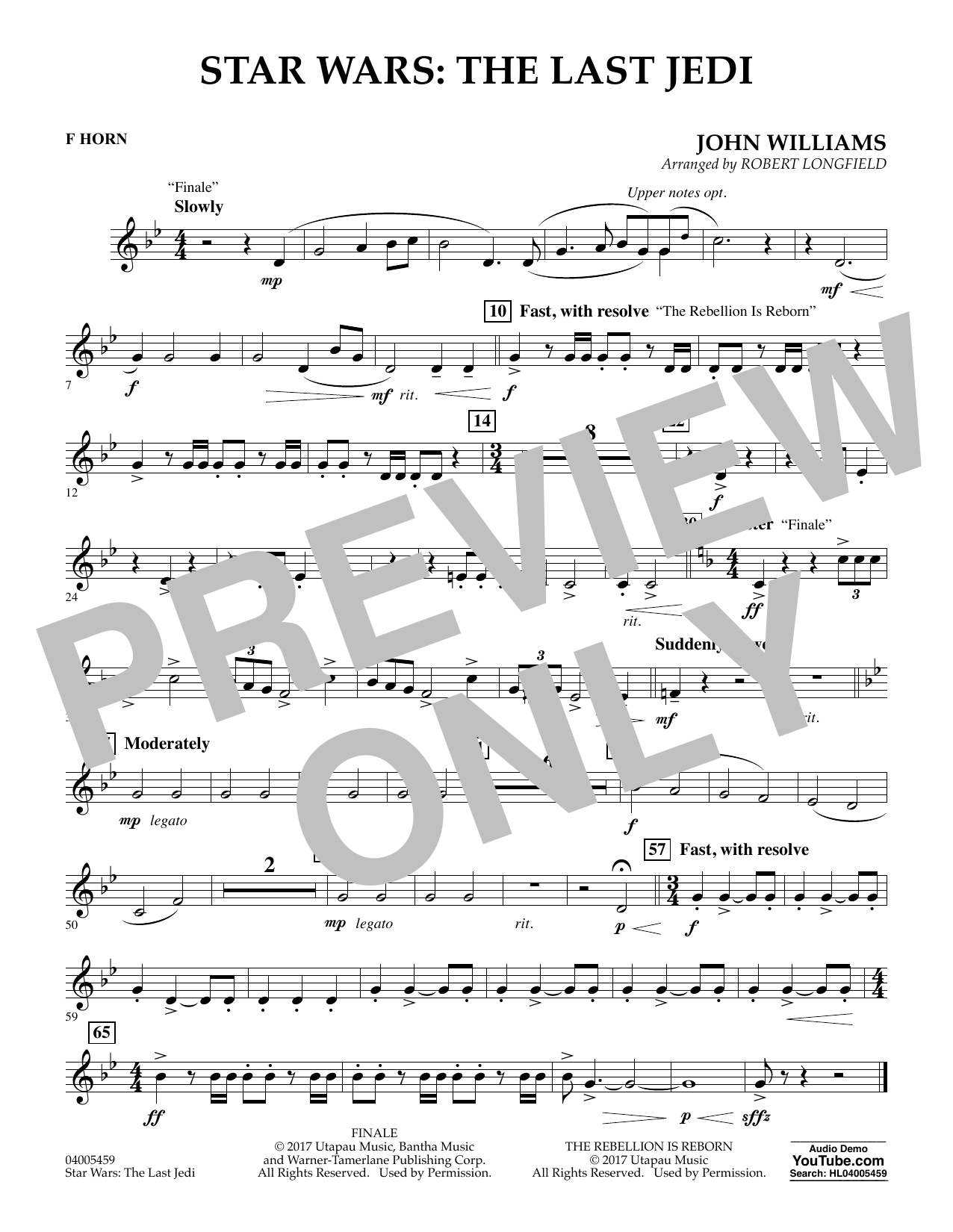 Star Wars: The Last Jedi - F Horn (Concert Band)