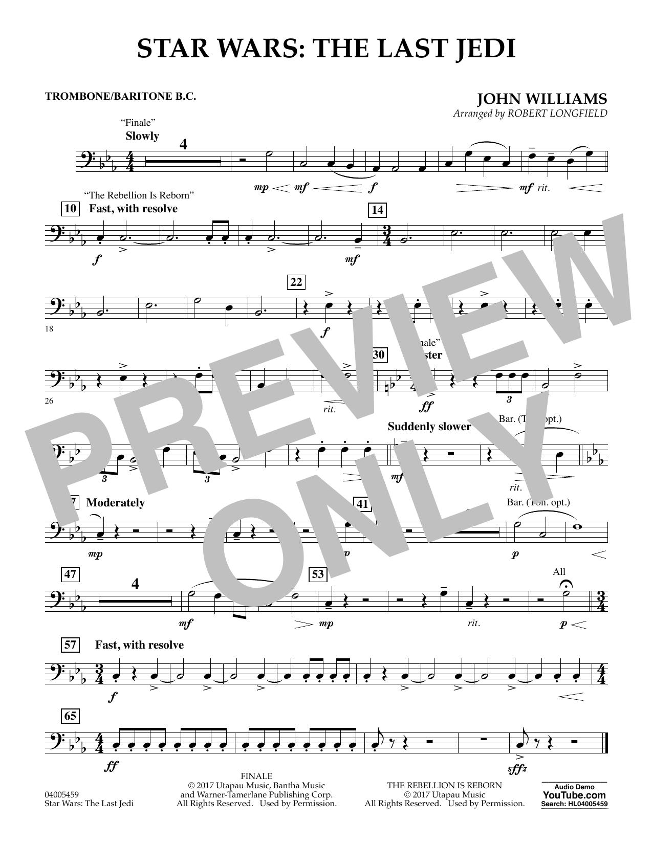 Star Wars: The Last Jedi - Trombone/Baritone B.C. (Concert Band)