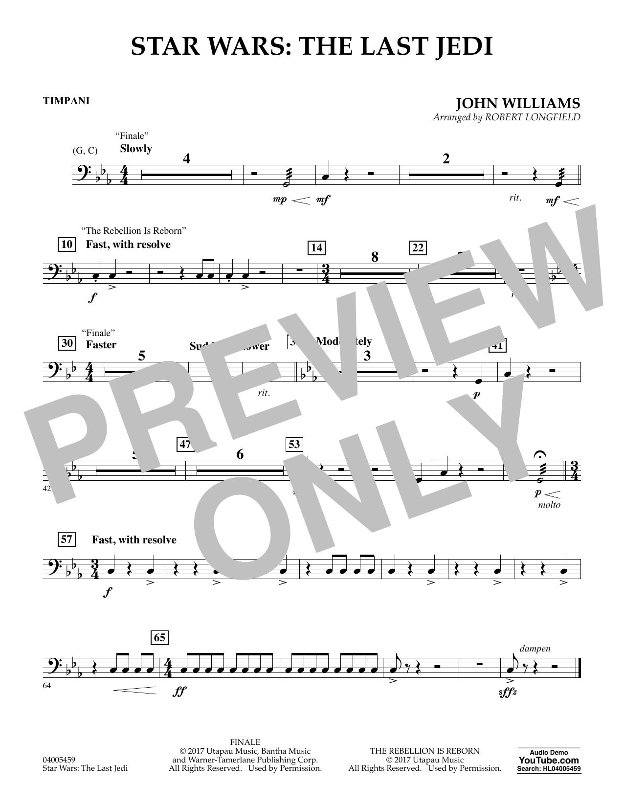 Star Wars: The Last Jedi - Timpani (Concert Band)