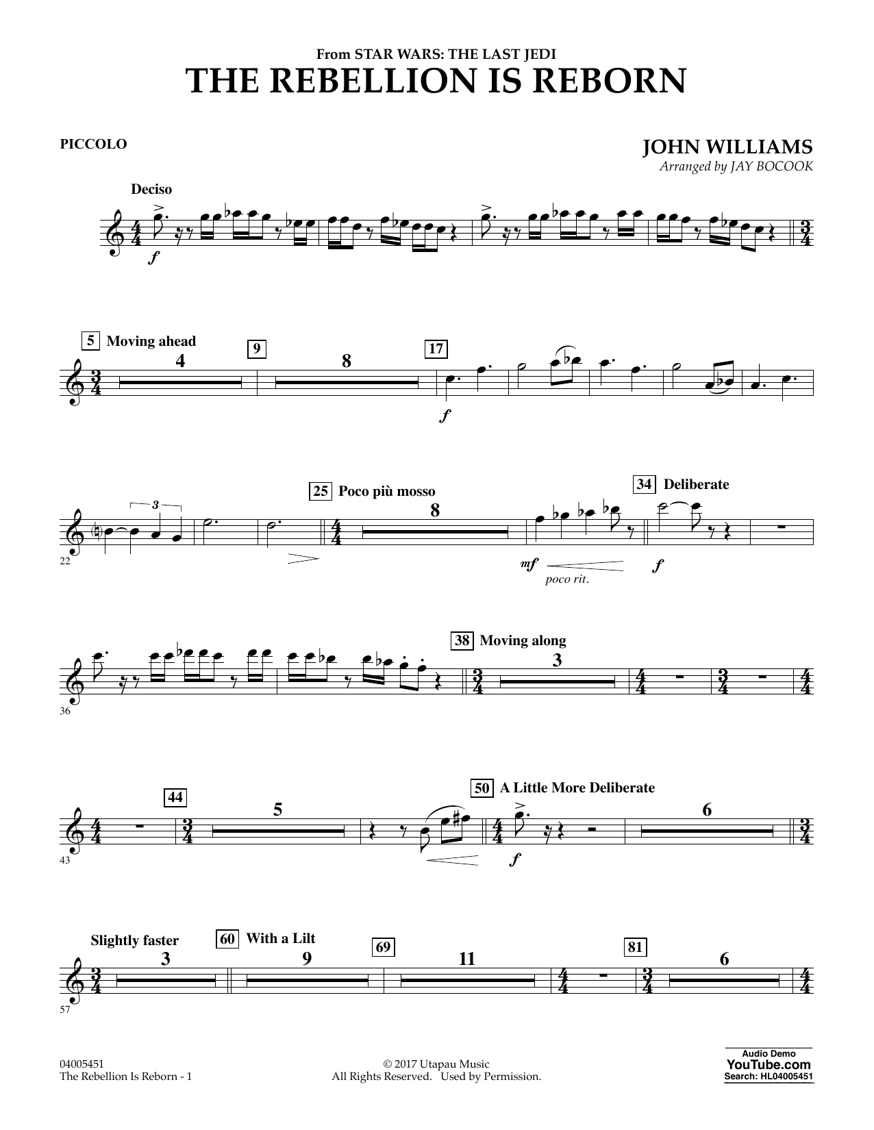 The Rebellion Is Reborn (from Star Wars: The Last Jedi) - Piccolo (Concert Band)