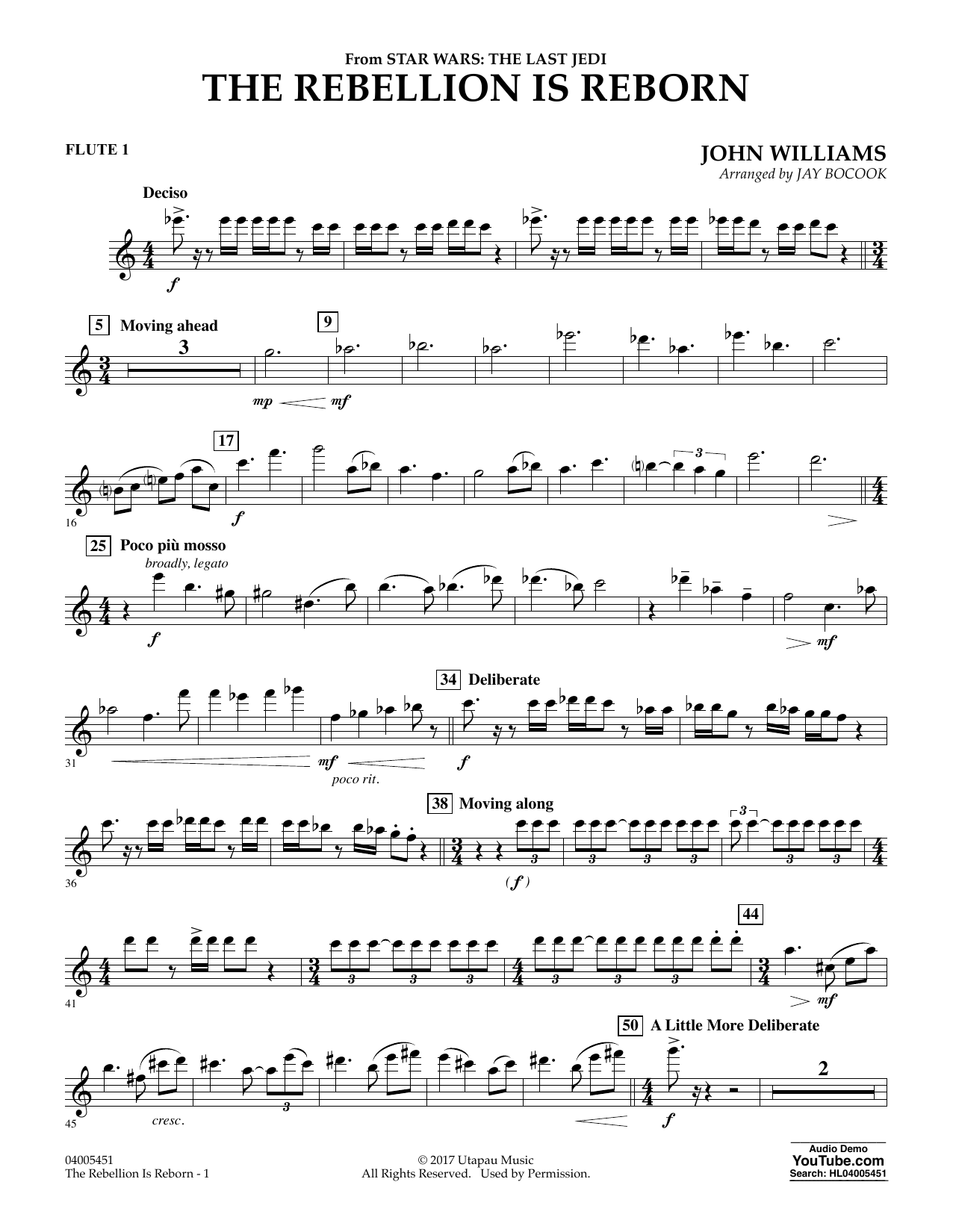 The Rebellion Is Reborn (from Star Wars: The Last Jedi) - Flute 1 (Concert Band)