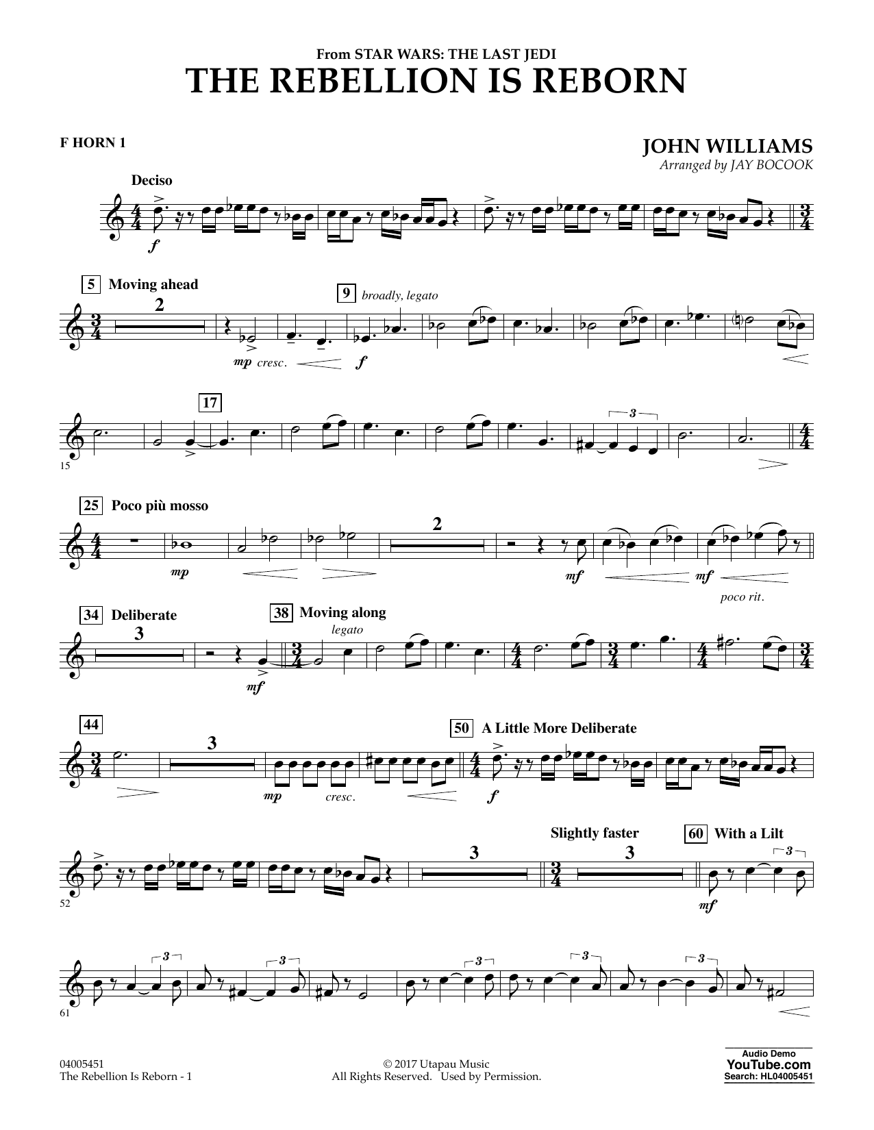 The Rebellion Is Reborn (from Star Wars: The Last Jedi) - F Horn 1 (Concert Band)