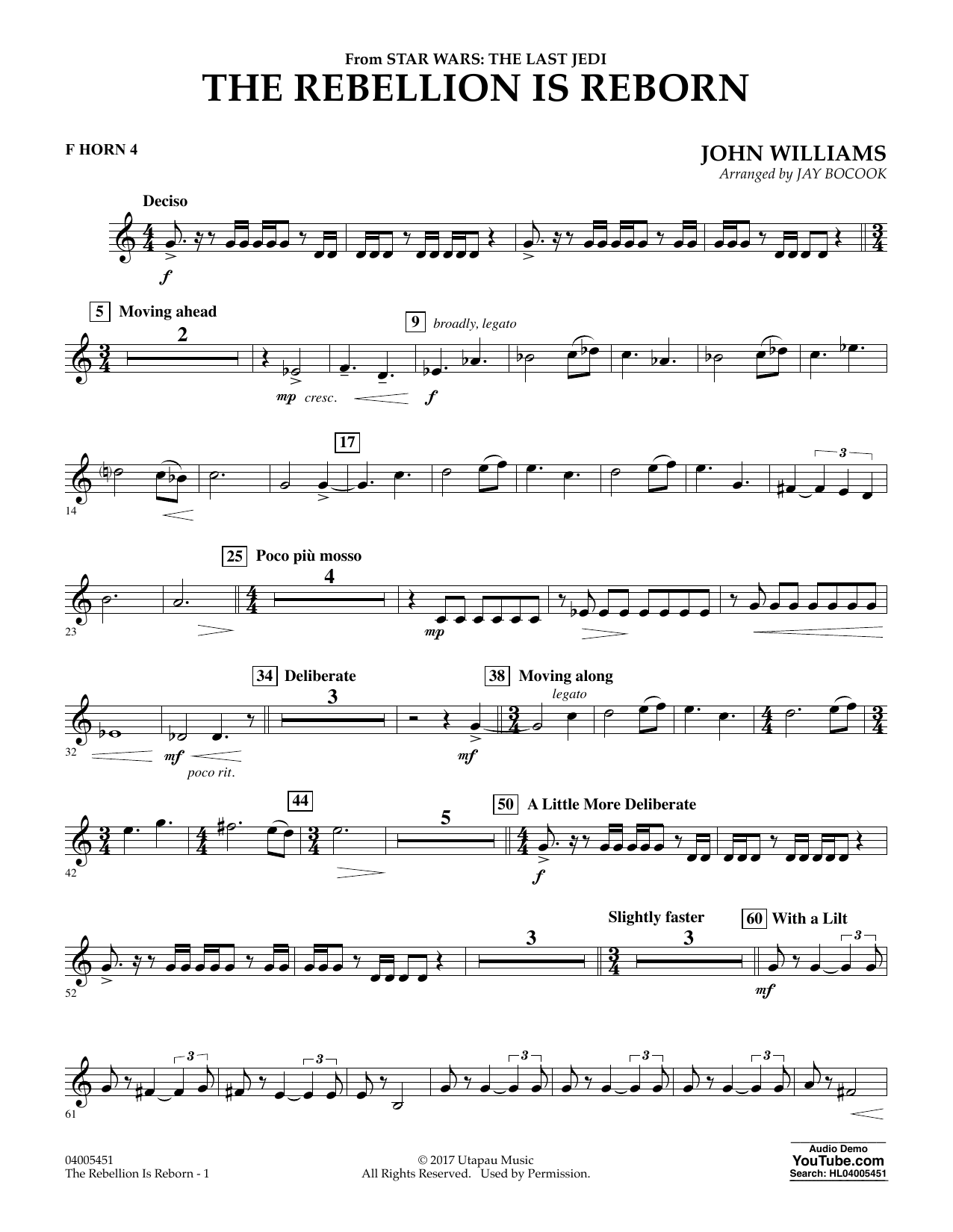 The Rebellion Is Reborn (from Star Wars: The Last Jedi) - F Horn 4 (Concert Band)