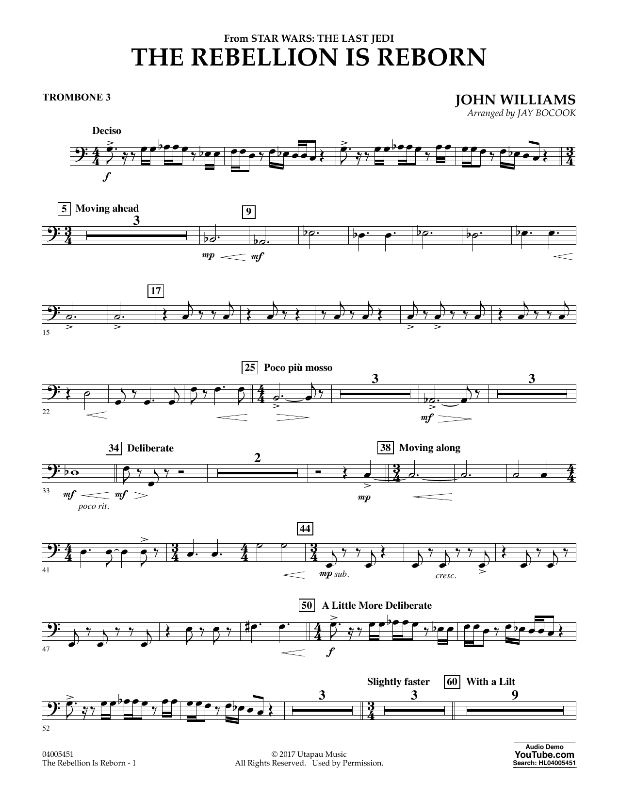 The Rebellion Is Reborn (from Star Wars: The Last Jedi) - Trombone 3 (Concert Band)