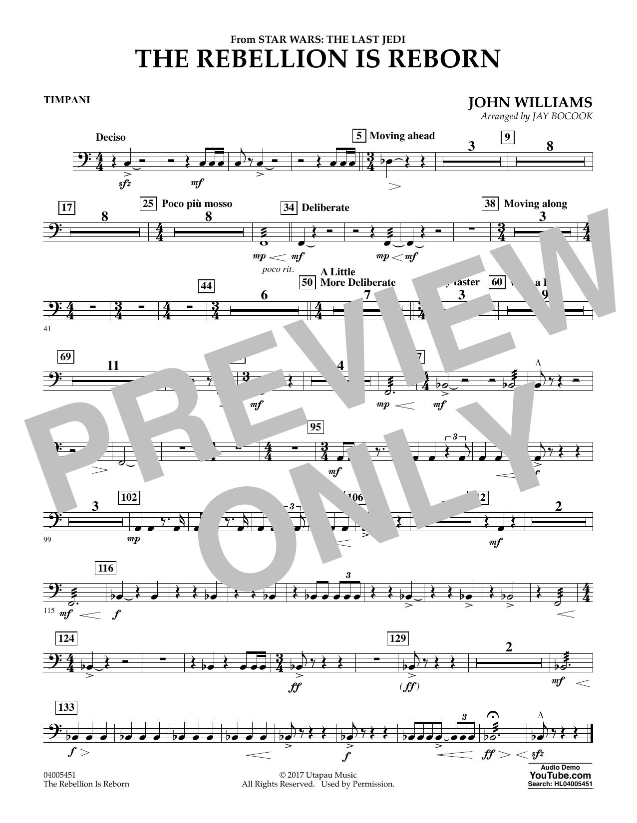 The Rebellion Is Reborn (from Star Wars: The Last Jedi) - Timpani (Concert Band)
