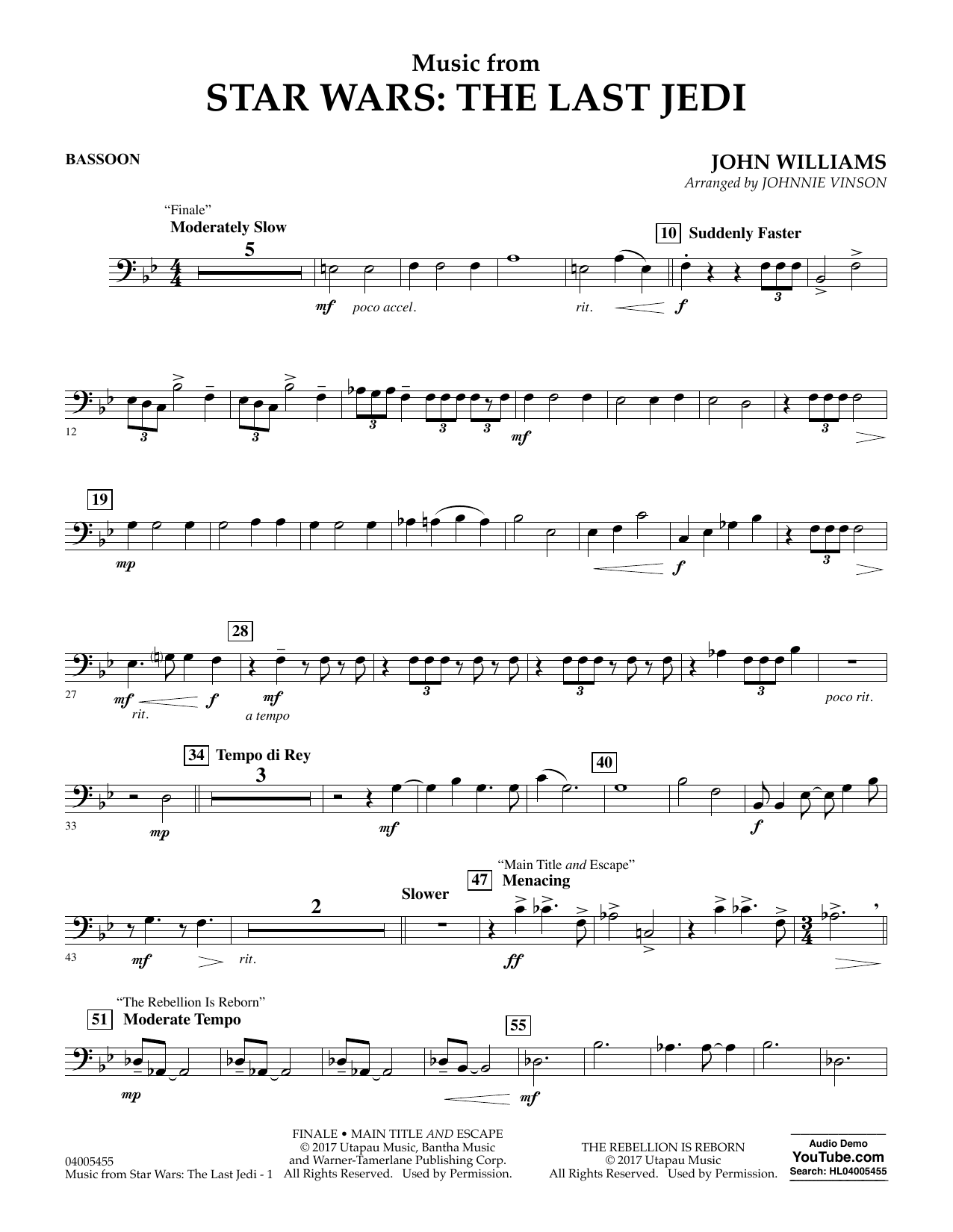 Music from Star Wars: The Last Jedi - Bassoon (Concert Band)