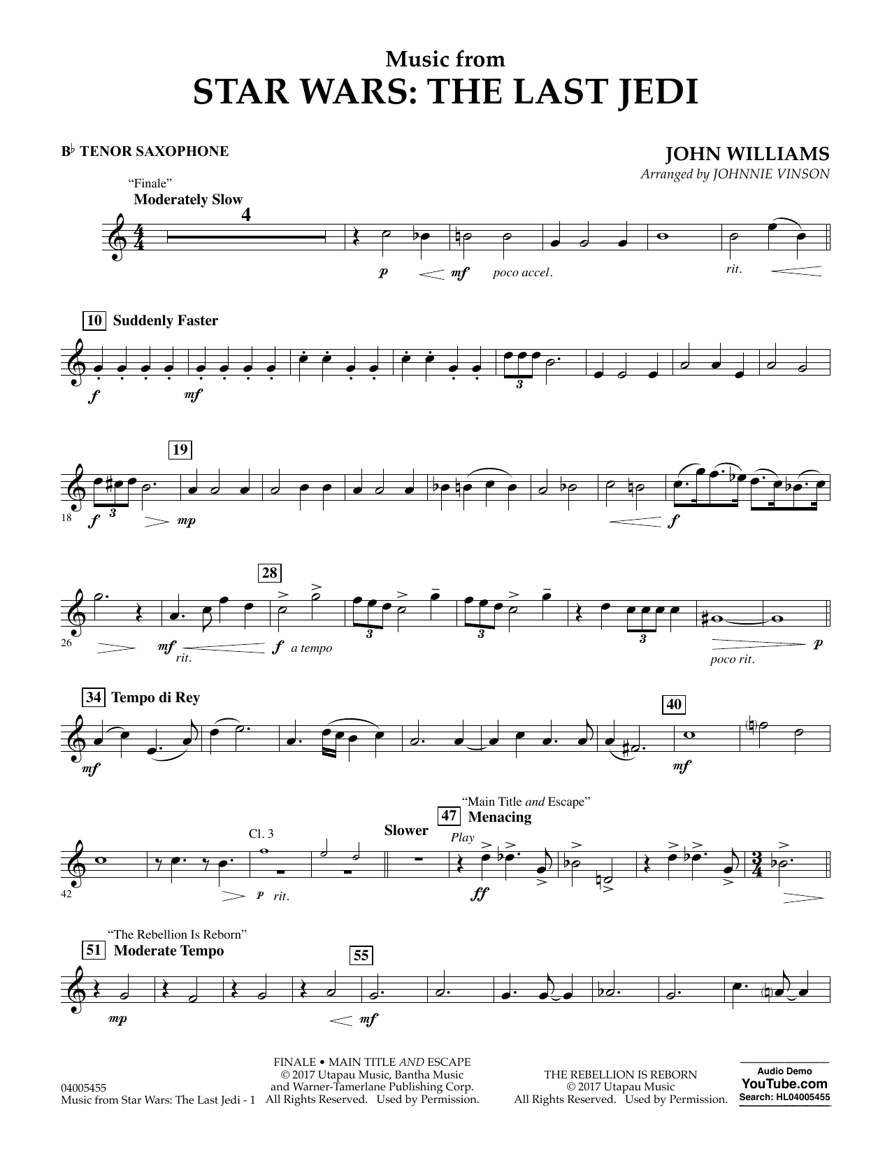Music from Star Wars: The Last Jedi - Bb Tenor Saxophone (Concert Band)