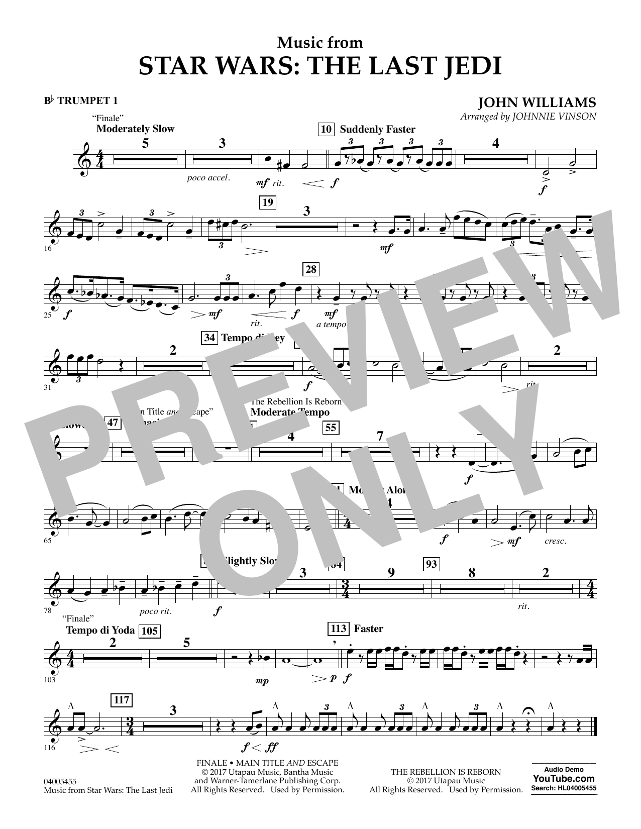 Music from Star Wars: The Last Jedi - Bb Trumpet 1 (Concert Band)