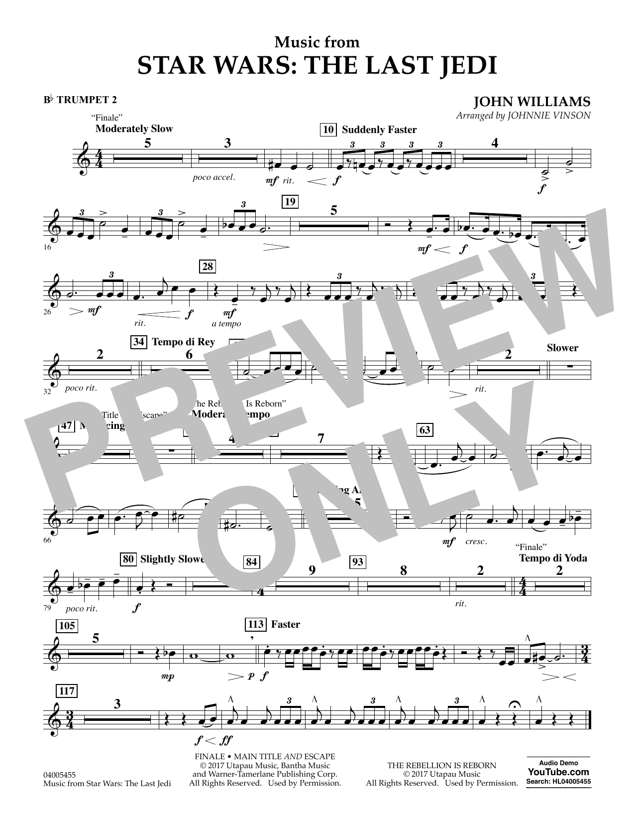 Music from Star Wars: The Last Jedi - Bb Trumpet 2 (Concert Band)