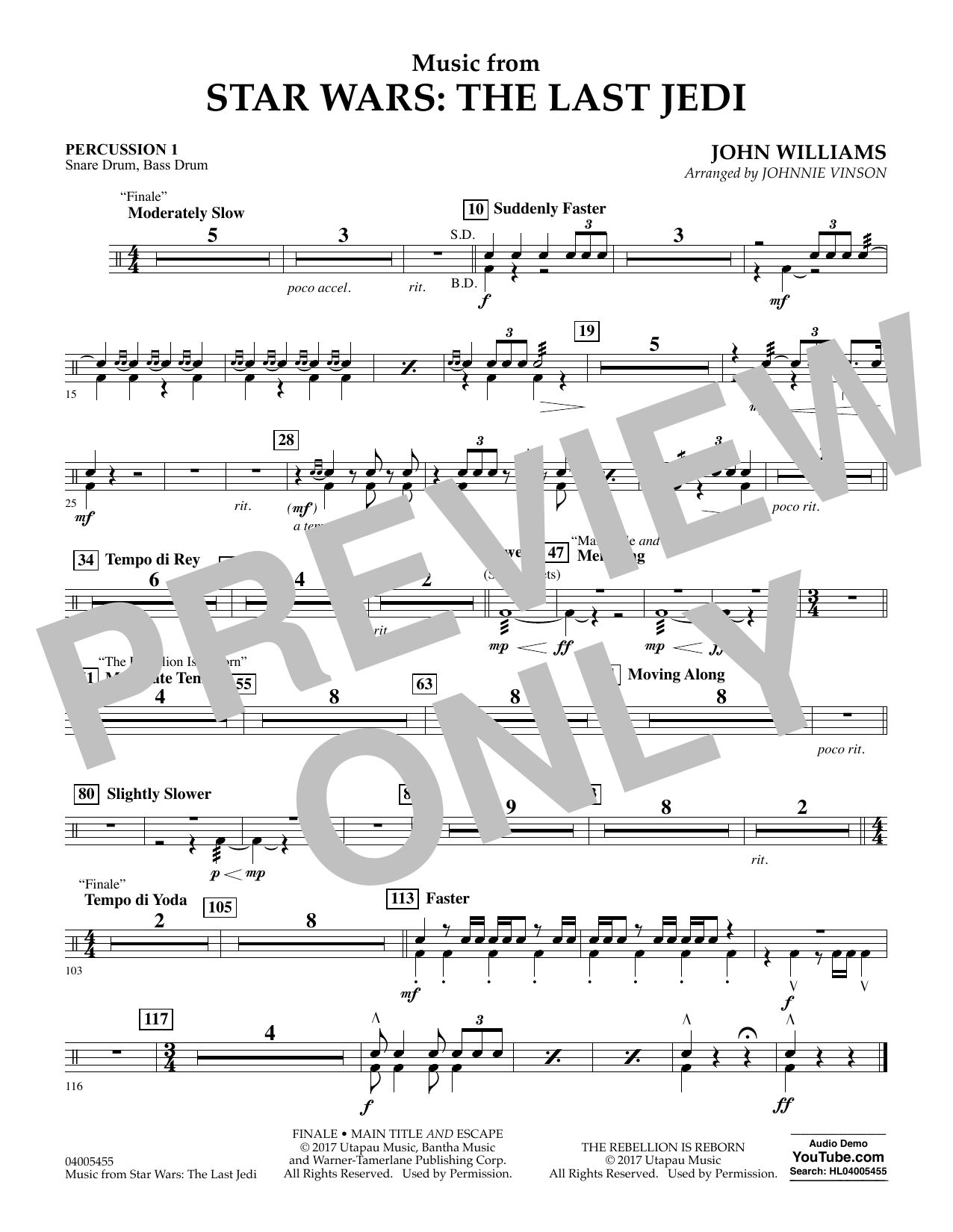 Music from Star Wars: The Last Jedi - Percussion 1 (Concert Band)