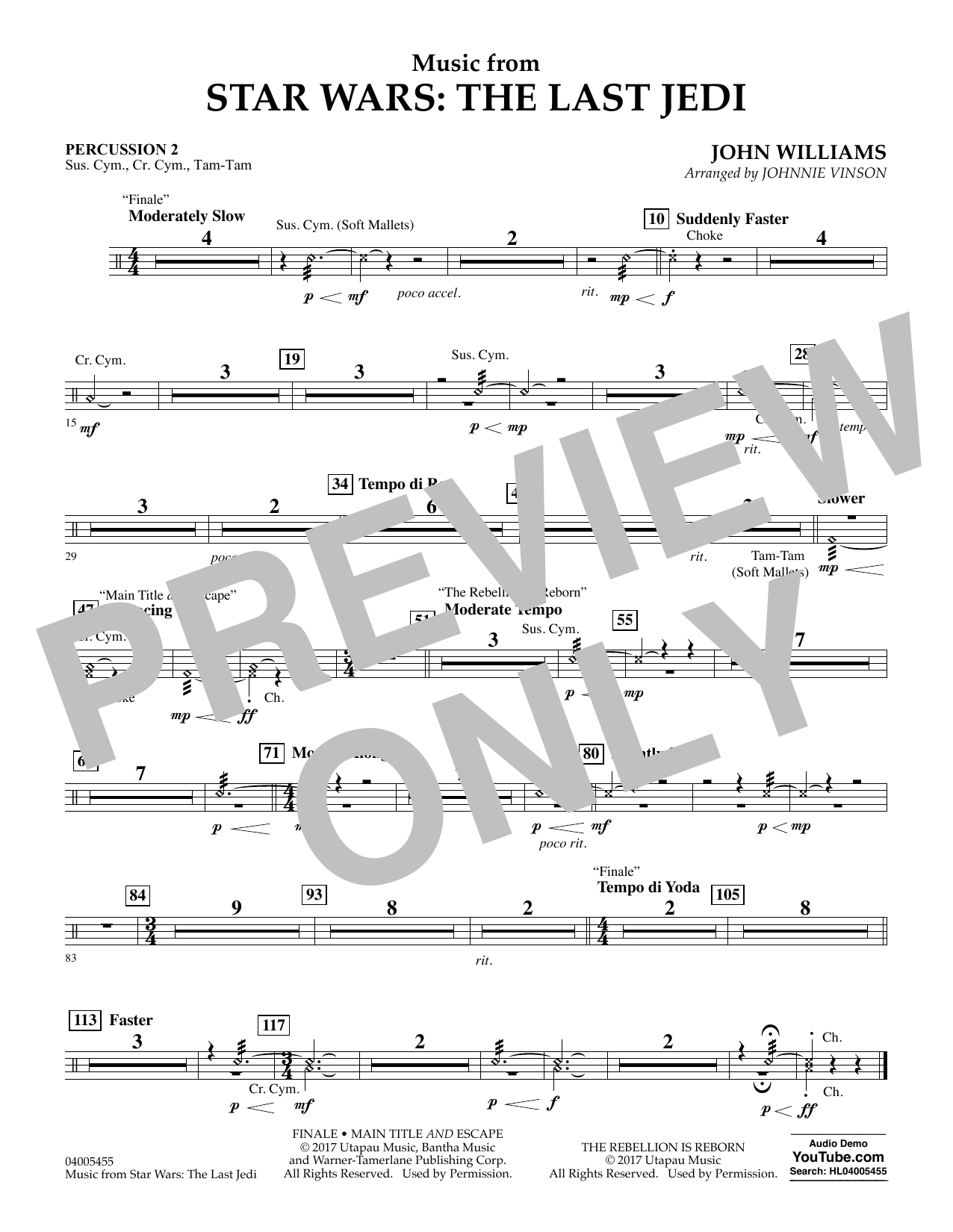 Music from Star Wars: The Last Jedi - Percussion 2 (Concert Band)