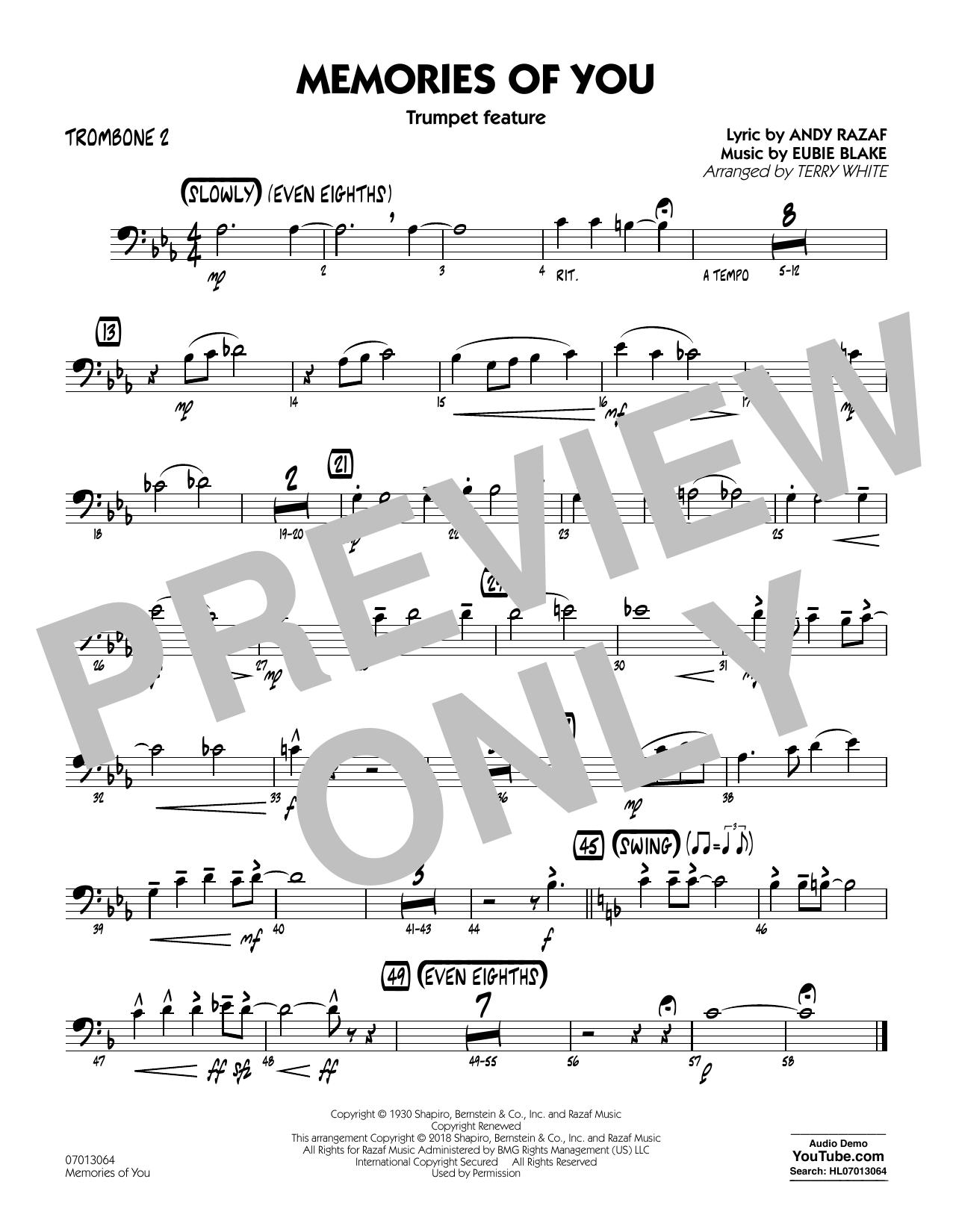 Partition autre Memories of You (Trumpet Feature) - Trombone 2 de Terry White - Ensemble Jazz