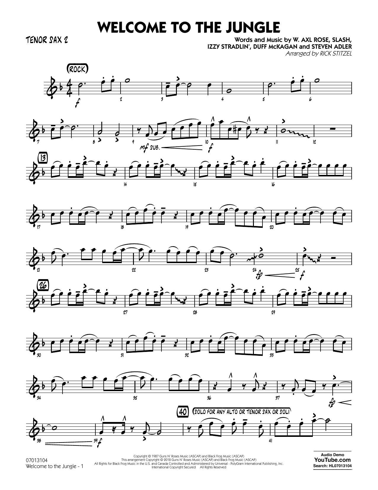 Welcome to the Jungle - Tenor Sax 2 (Jazz Ensemble)