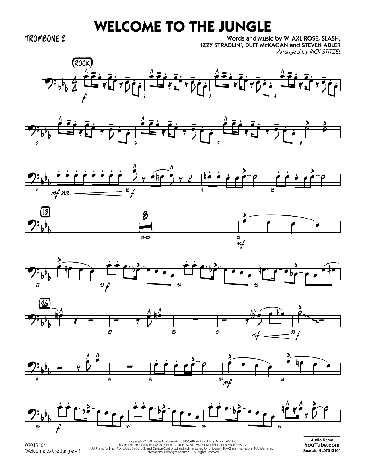 Welcome to the Jungle - Trombone 2 (Jazz Ensemble)