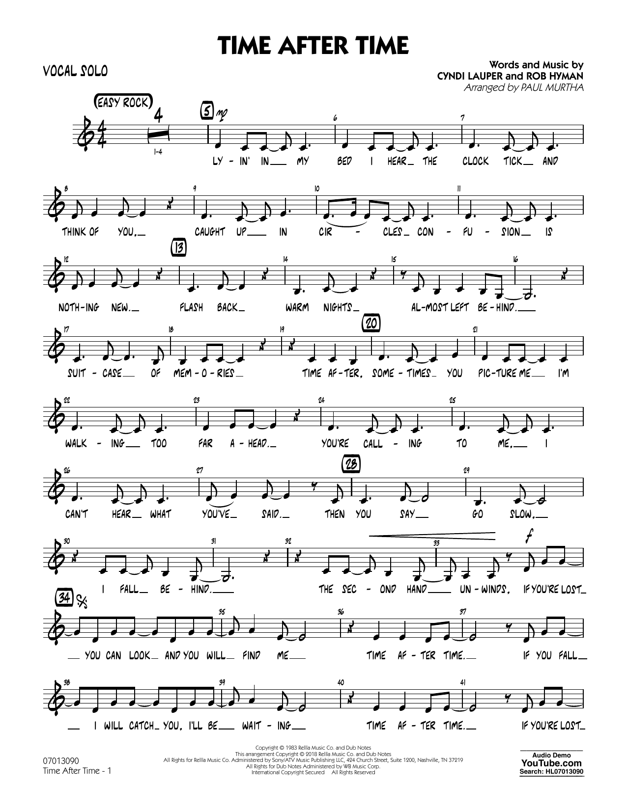 Time After Time - Vocal Solo (Jazz Ensemble)