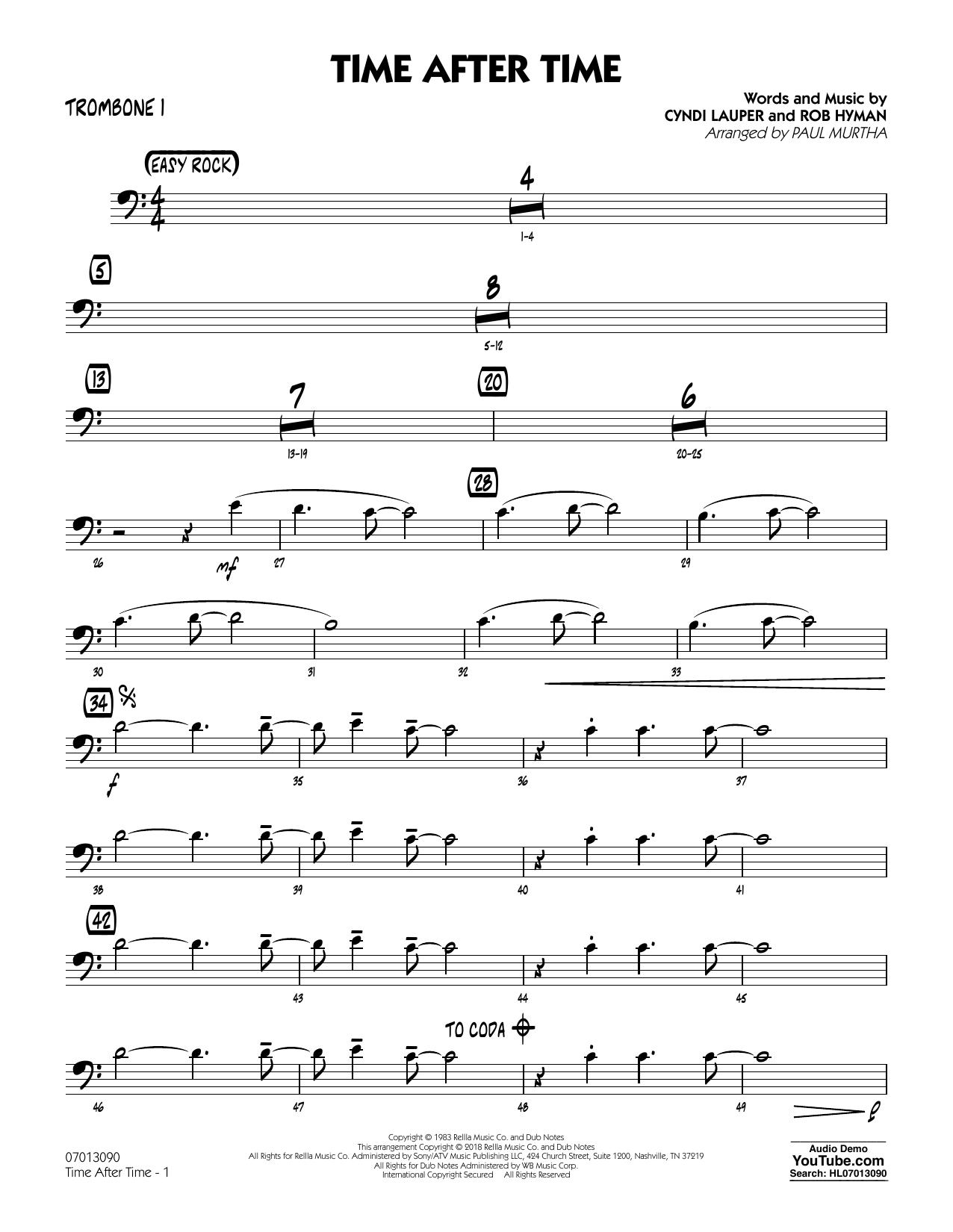 Time After Time - Trombone 1 (Jazz Ensemble)