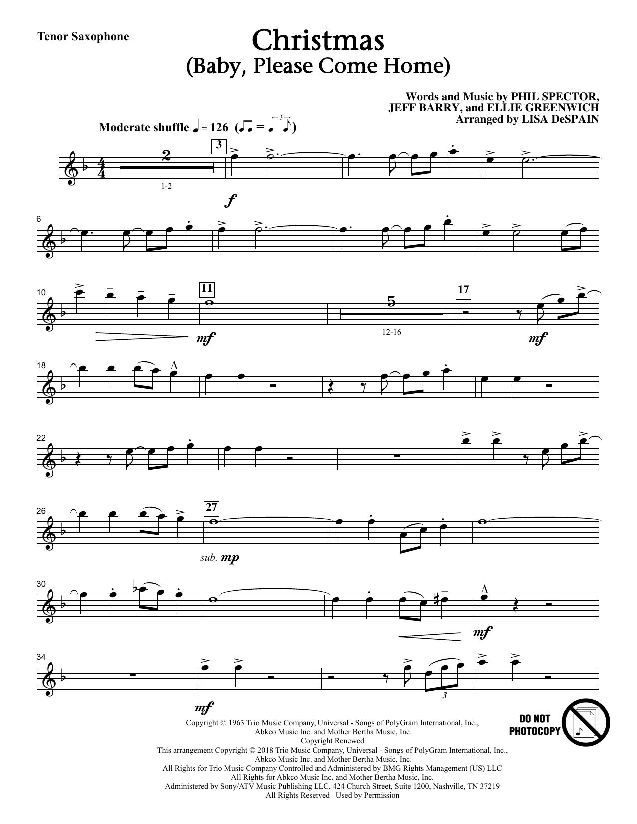Christmas (Baby, Please Come Home) - Tenor Saxophone (Choir Instrumental Pak)